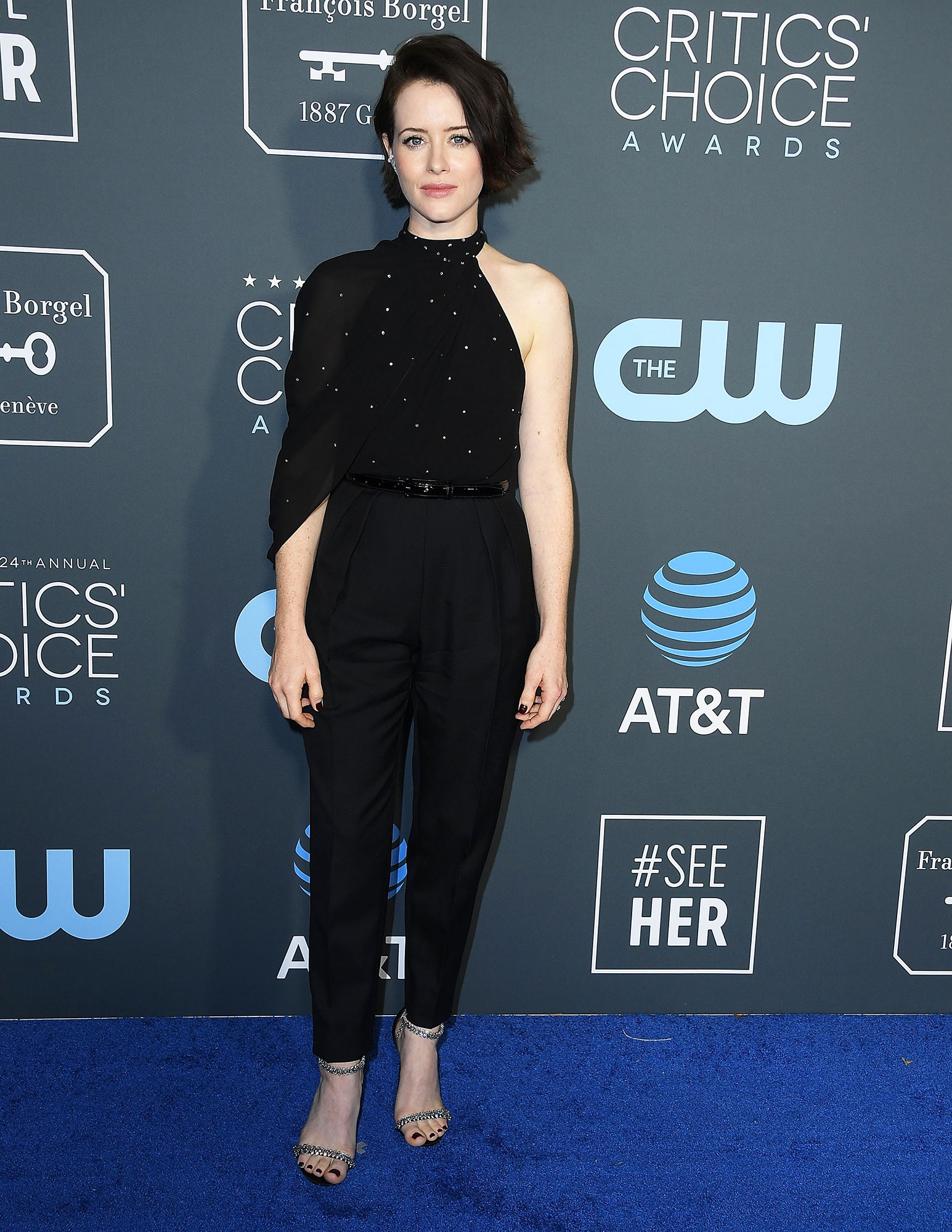 Claire Foy - In a crystal and wool jumpsuit on Jan. 13.