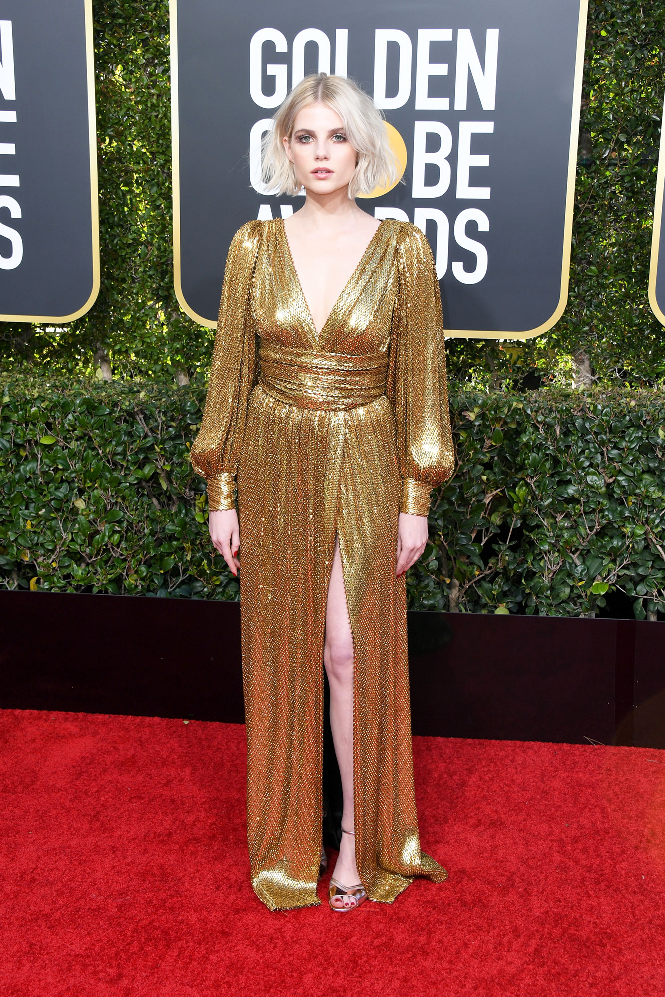 Lucy Boynton - In a belted sequin creation on Jan. 6.