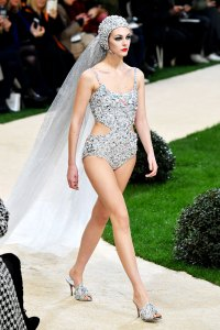 ad56cf1869 Vittoria Ceretti Chanel Reinvents the Wedding Dress as a ... Swimsuit