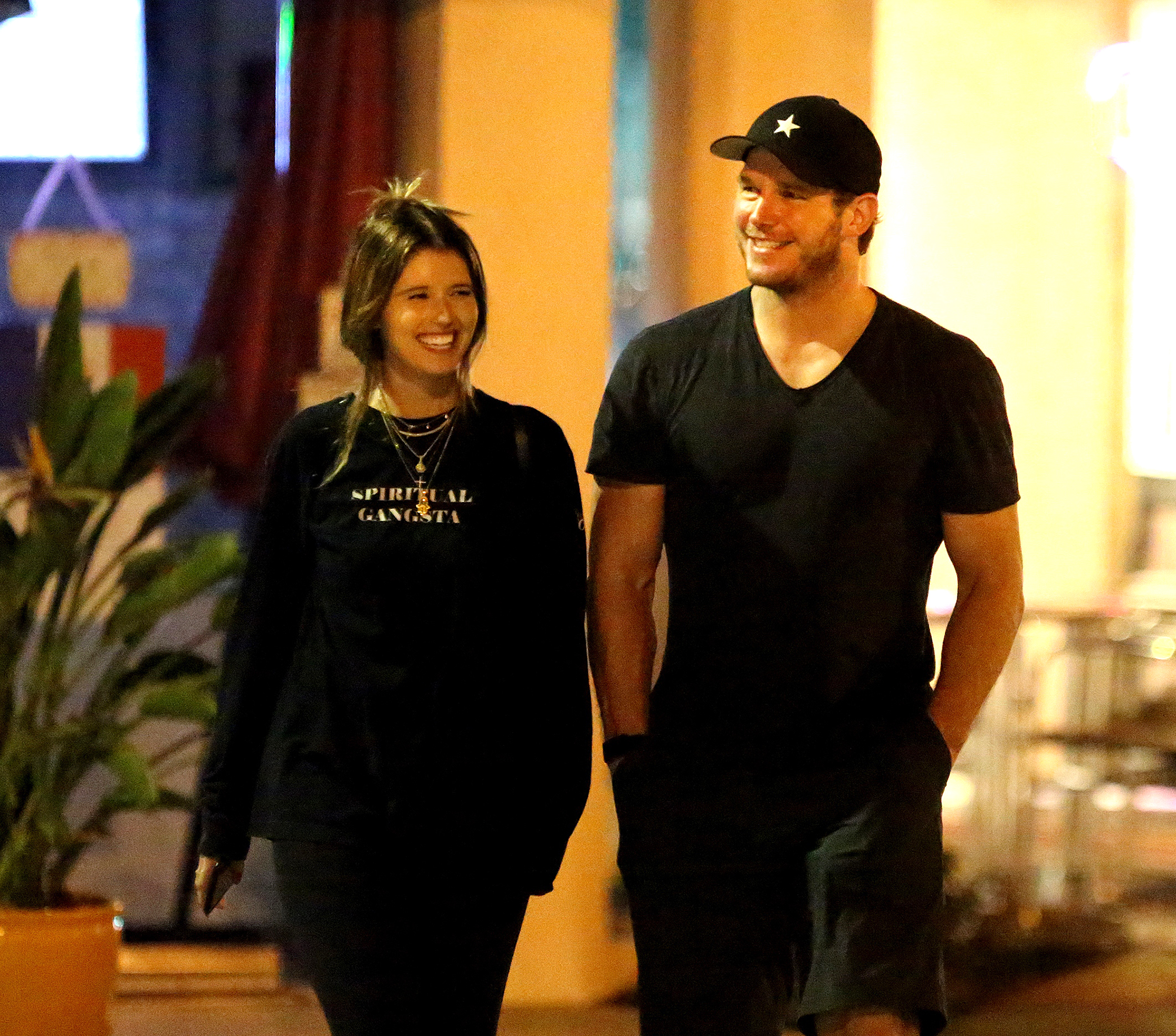 Chris Pratt and Katherine Schwarzenegger: A Timeline of Their Relationship - Christ Pratt laughs with his new flame Katherine Schwarzenegger after dinner. 29 Aug 2018 Pictured: Chris Pratt and Katherine Schwarzenegger.