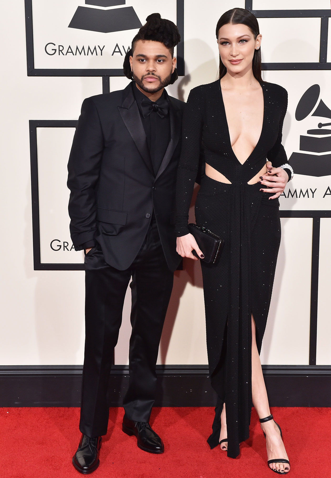"Couples Who Made Their Red Carpet Debuts at an Awards Show - The model and The Weeknd (real name: Abel Makkonen Tesfaye ) heated up the red carpet at the 2016 Grammy Awards. The pair — who were dating for nine months at the time — looked fashionably in sync, with Hadid wearing an Alexandre Vauthier Haute Couture gown and the ""Starboy"" singer matching in a black suit."