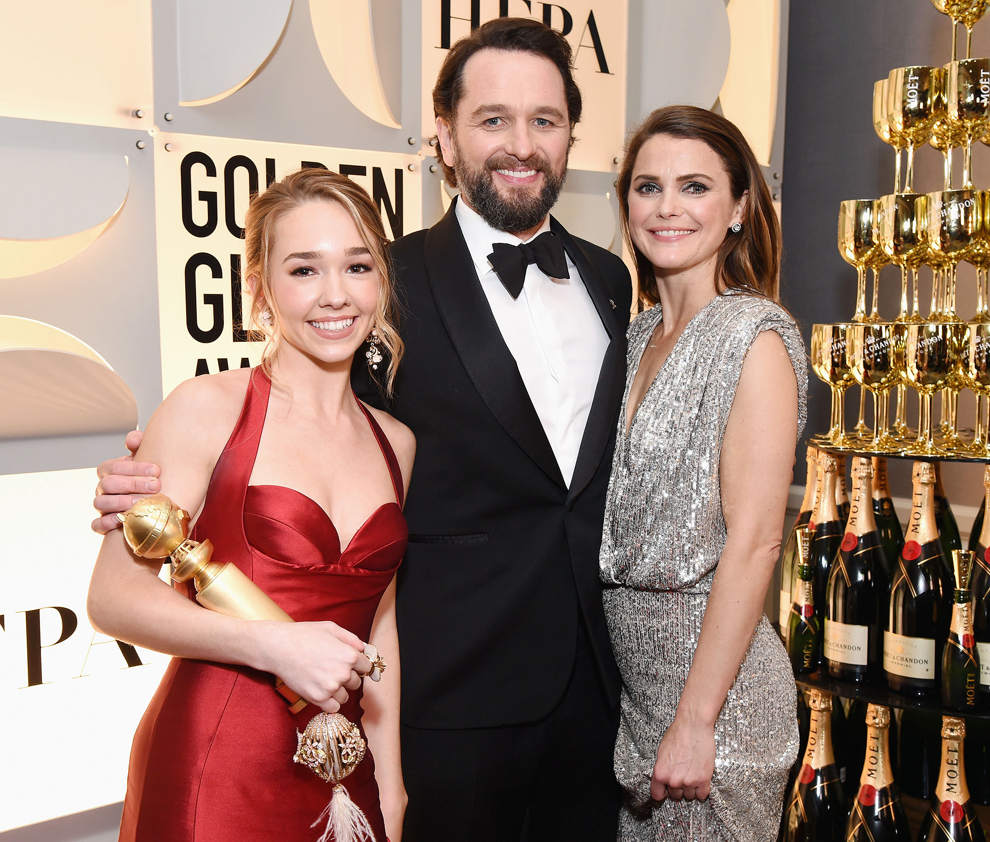Inside Golden Globes 2019 Holly Taylor Matthew Rhys Keri Russell - The Americans star Holly Taylor and her onscreen parents, Matthew Rhys and Keri Russell , had a sweet backstage reunion.