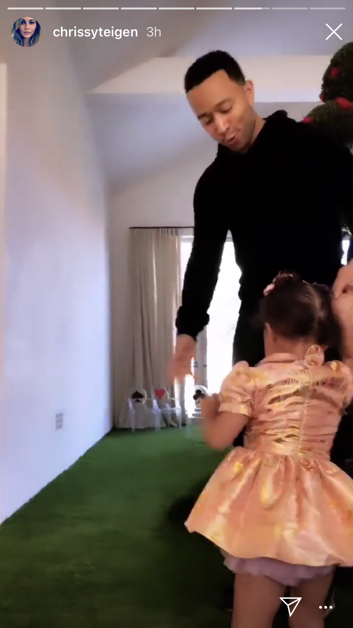 John legend, Chrissy teigen, Kim Kardashian, chicago west, birthday party, alice in wonderland - Luna was later spotted being twirled around by her doting dad.