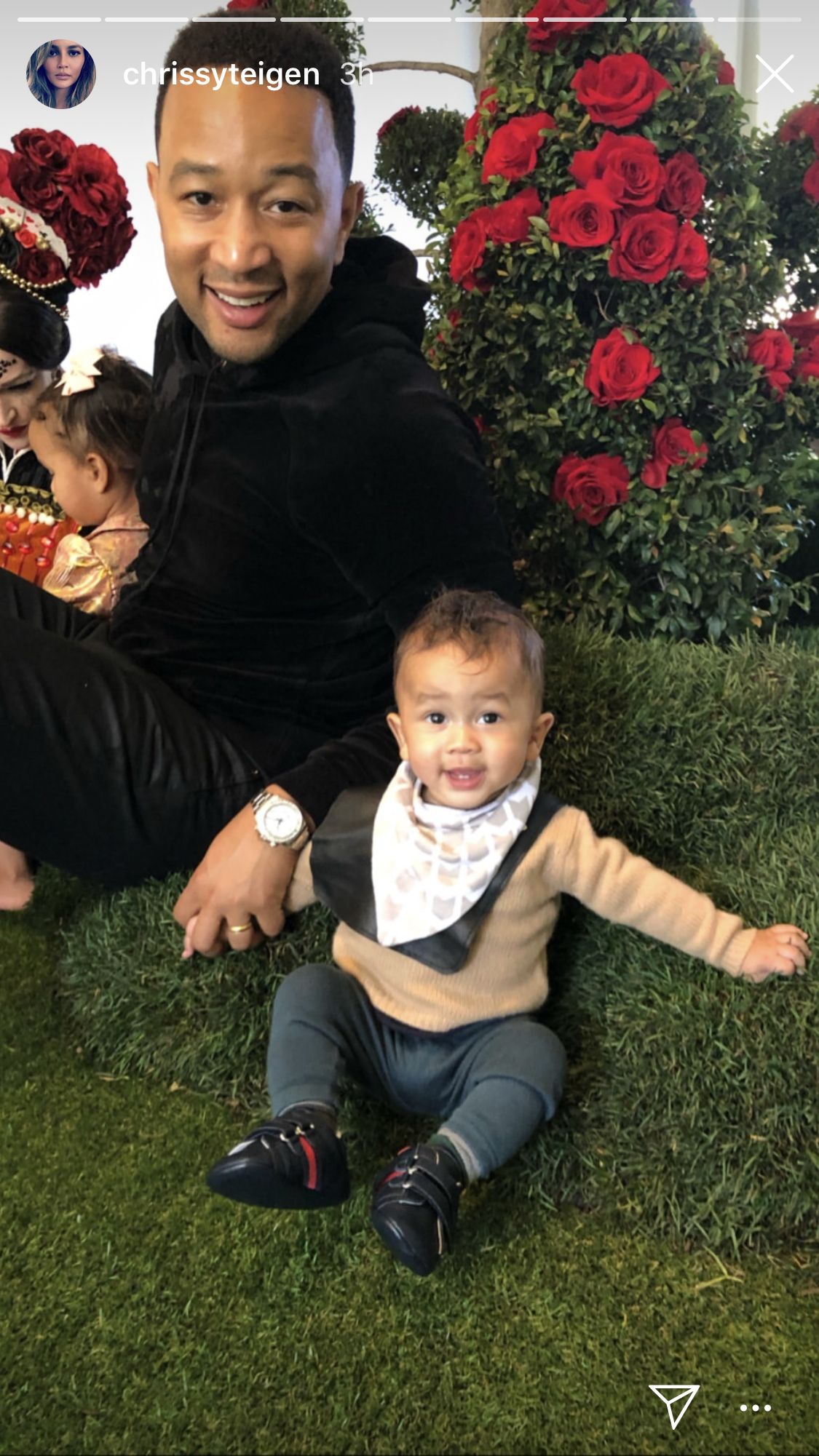 Kim Kardashian, chicago west, birthday party, alice in wonderland, john legend, chrissy teigen - Legend and his look-alike son took a seat by one of the rose bushes.
