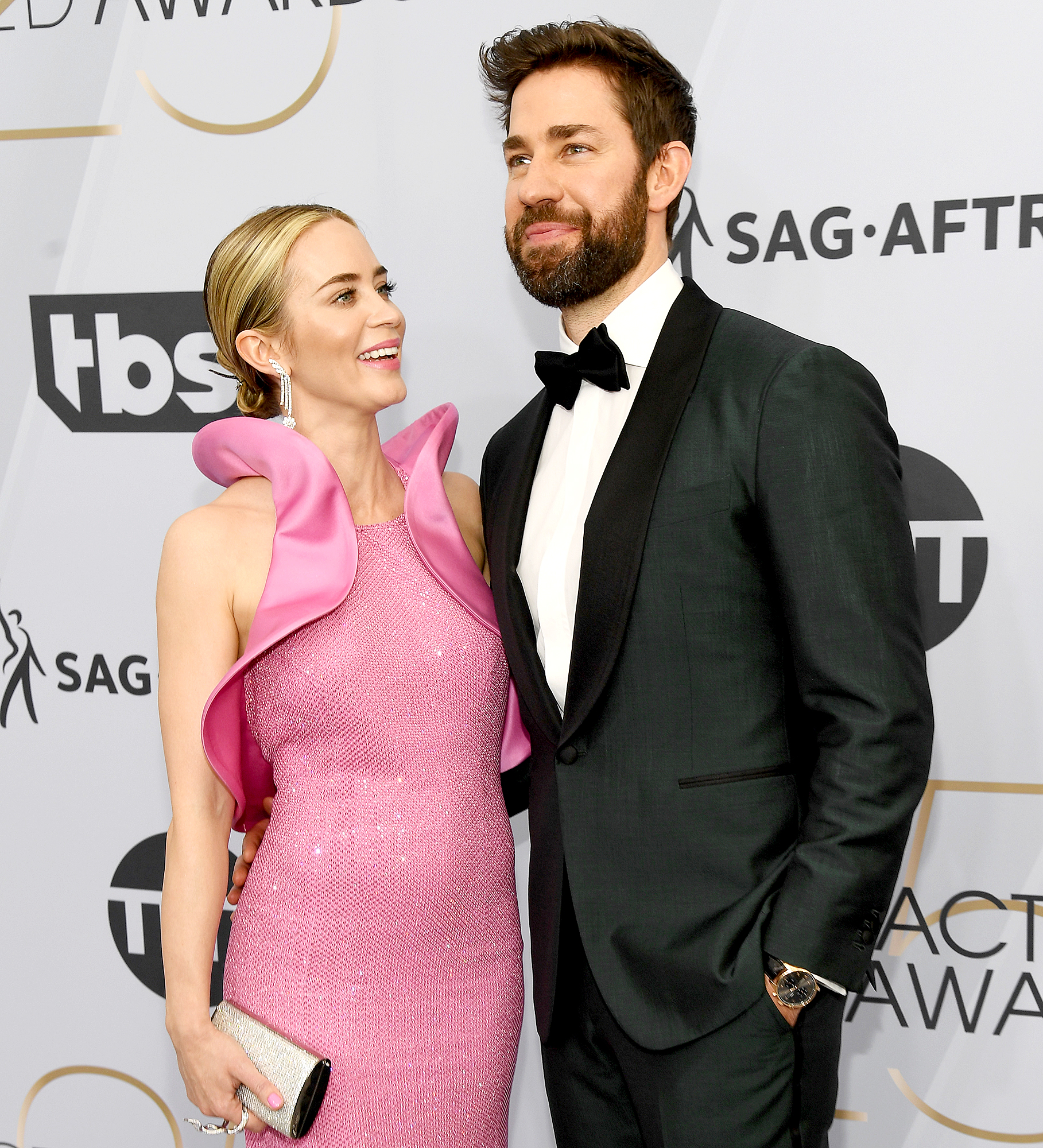 """John-Krasinski-and-Emily-Blunt-love-quotes - """"Oh, my goodness me. Guys, that truly has completely blown my slicked hair back,"""" Blunt said during her acceptance speech at the 2019 SAG Awards while Krasinski watched from the audience with tears in his eyes. """"I am going to share this completely with my husband, John, because the entire experience of doing this with you has completely pierced my heart directly. You are a stunning filmmaker. I am so lucky to be with you and to have done this film with you."""""""