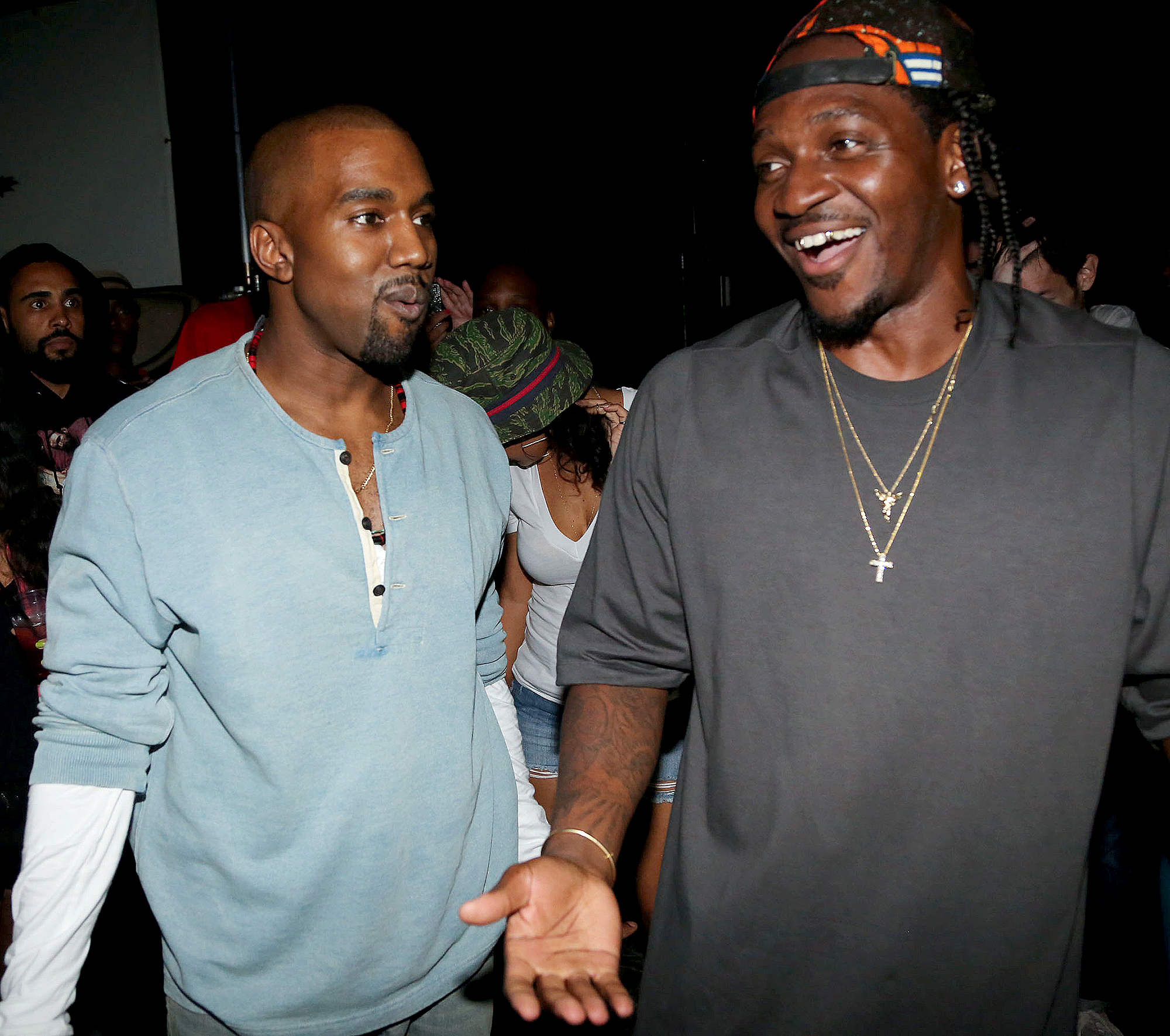 """Kanye-West-and-Pusha-T - In May 2018, rapper Pusha T released """"Infrared,"""" a track produced by West that took several shots at Drake. As a result, the """"In My Feelings"""" rapper posted a photo of a $100,000 invoice for """"promotional assistance and career-reviving."""""""