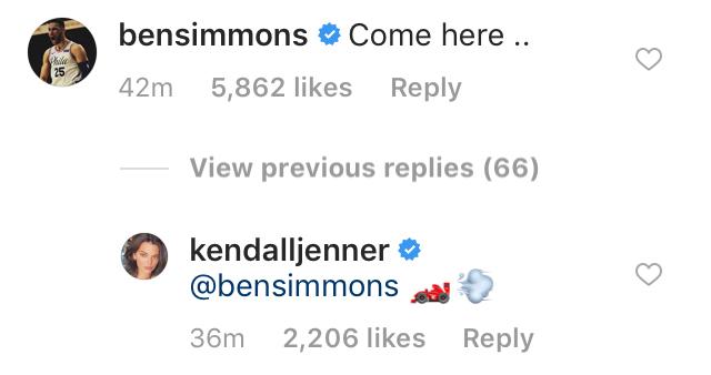 Kendall-Jenner,-Ben-Simmons-Get-Flirty-on-Instagram