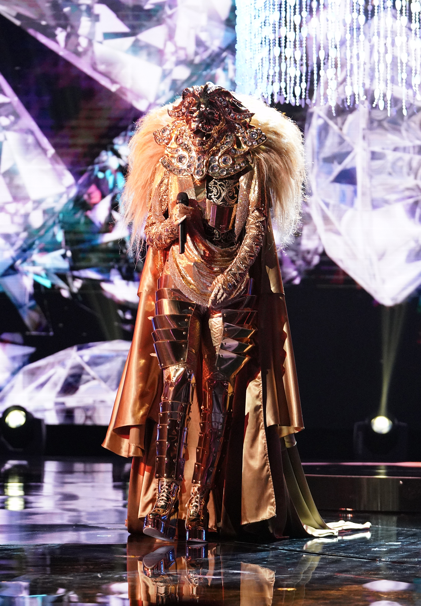 Masked Singer - Lion performs in the all-new 'Five Masks No More' episode of 'The Masked Singer.'