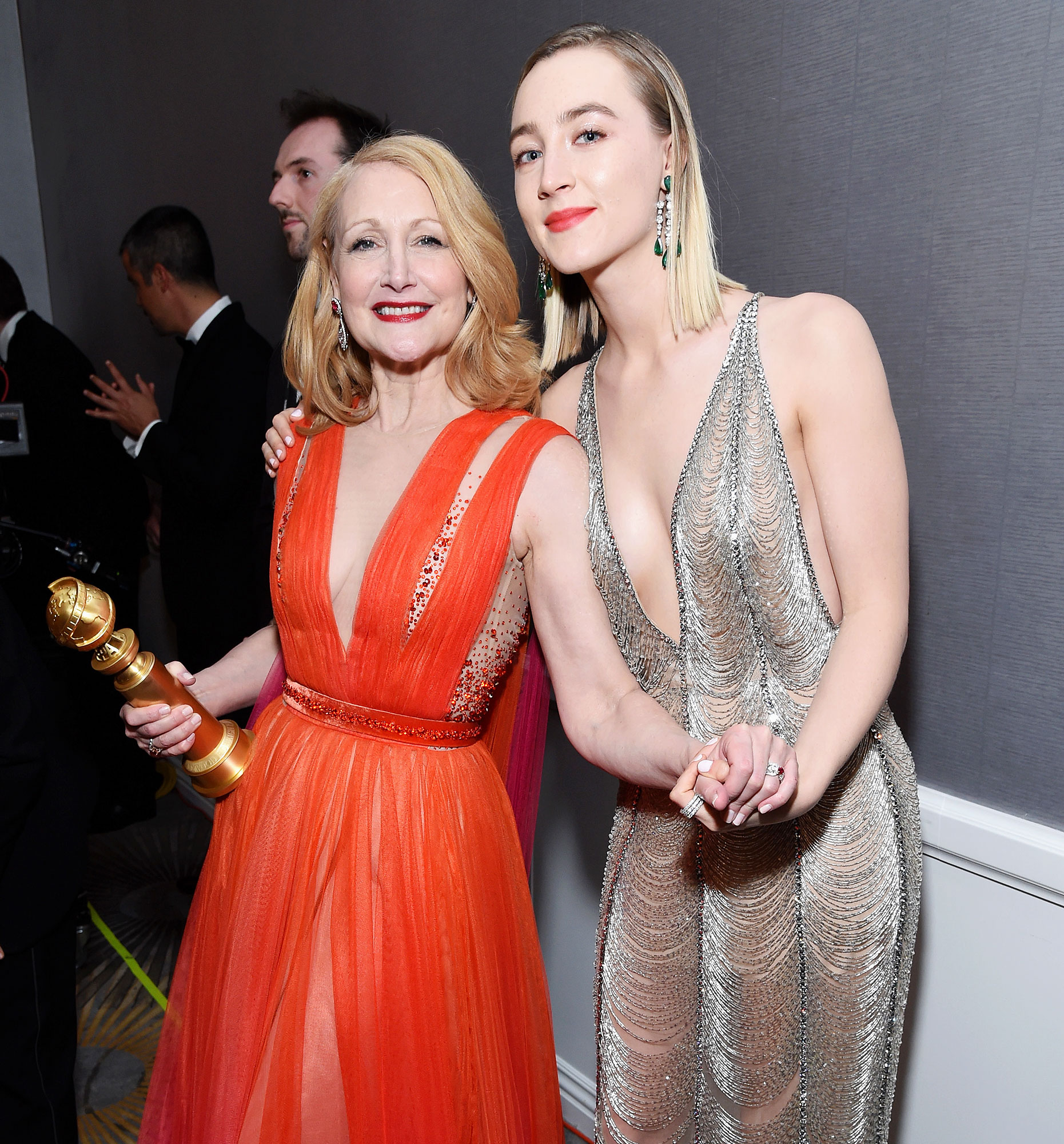 Inside Golden Globes 2019 Patricia Clarkson Saoirse Ronan - Patricia Clarkson and Saoirse Ronan could have passed for a mother-daughter duo as they posed together backstage.