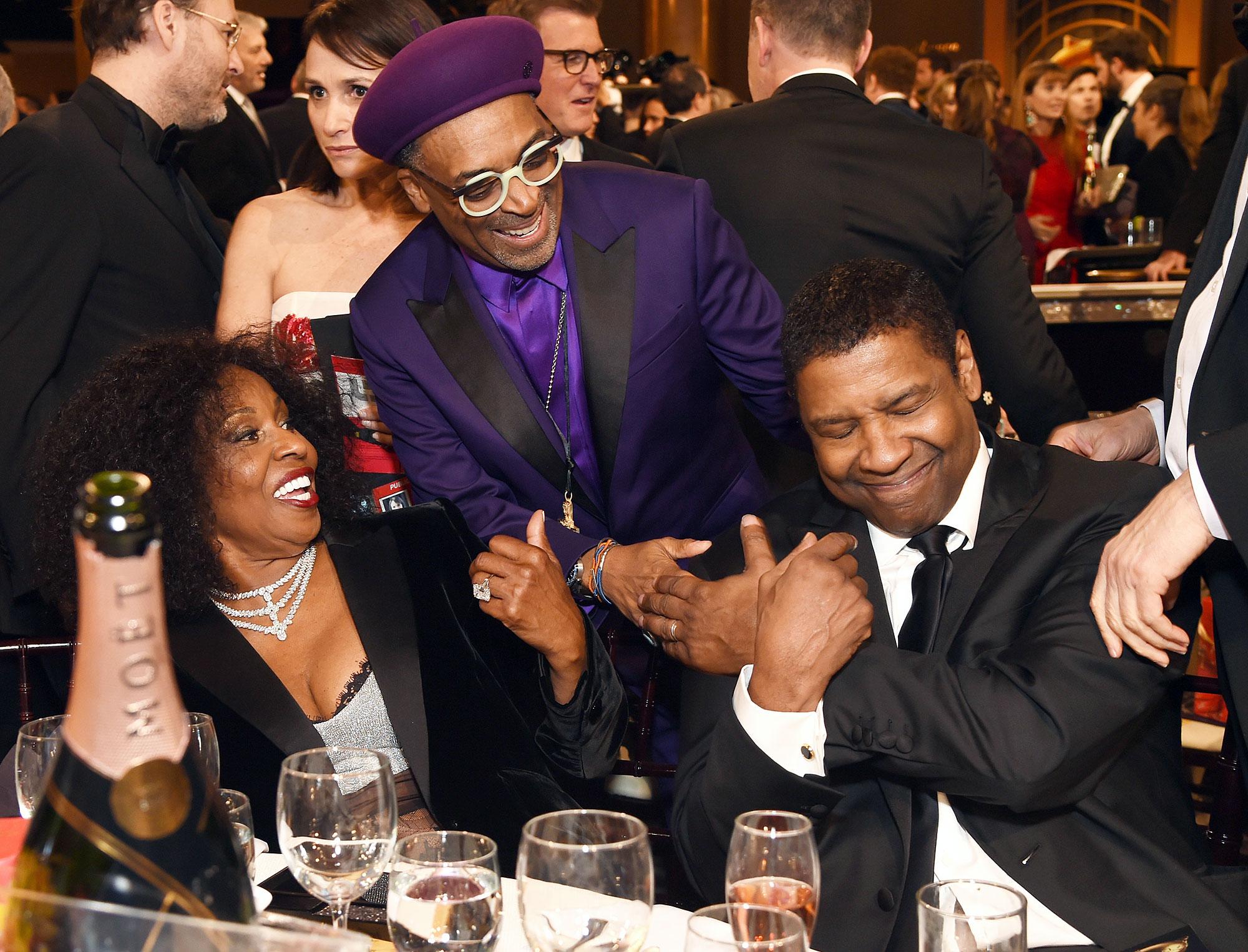 Inside Golden Globes 2019 Pauletta Washinton Spike Lee Denzel Washington - Spike Lee had a surprise greeting for Denzel Washington and wife Pauletta Washington .
