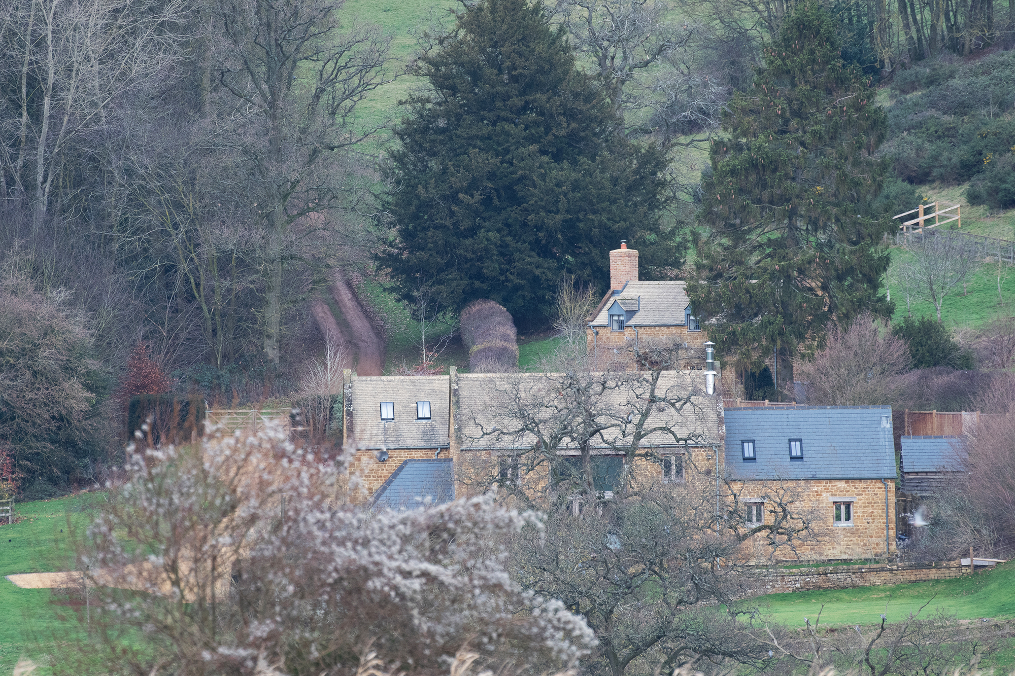 Prince-Harry-and-Duchess-Meghan's-Country-Retreat - The large property — which they leased for two years — boasts a main bedroom with stunning valley views. The Cotswold Hills cover almost 800 miles and are the second largest protected landscape in England.