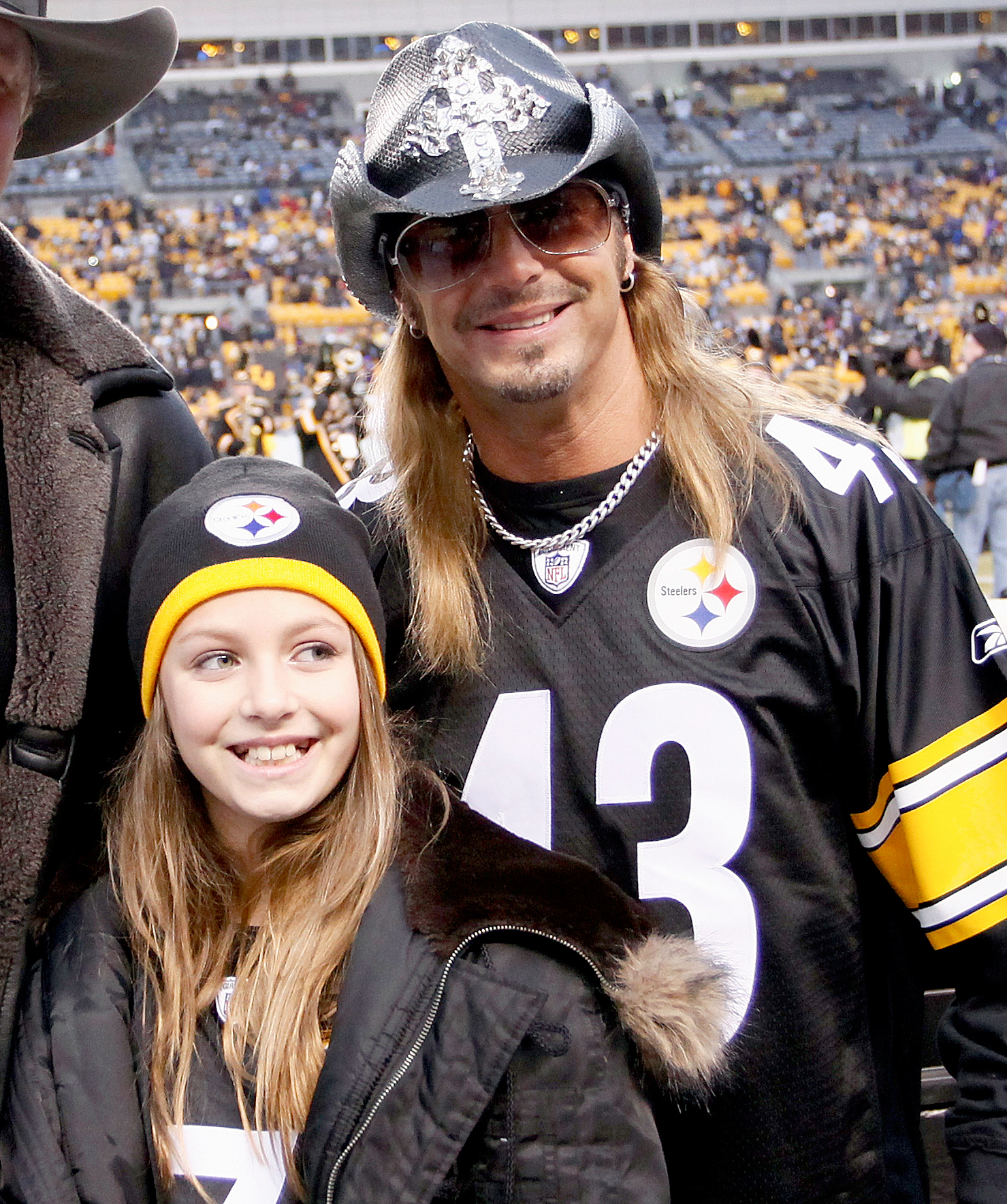 Raine-Bret-MIchaels - Bret Michaels and his daughter Raine Elizabeth Sychak before the game between the Pittsburgh Steelers and the Baltimore Ravens during the AFC Divisional Playoff at Heinz Field on January 15, 2011 in Pittsburgh, Pennsylvania.
