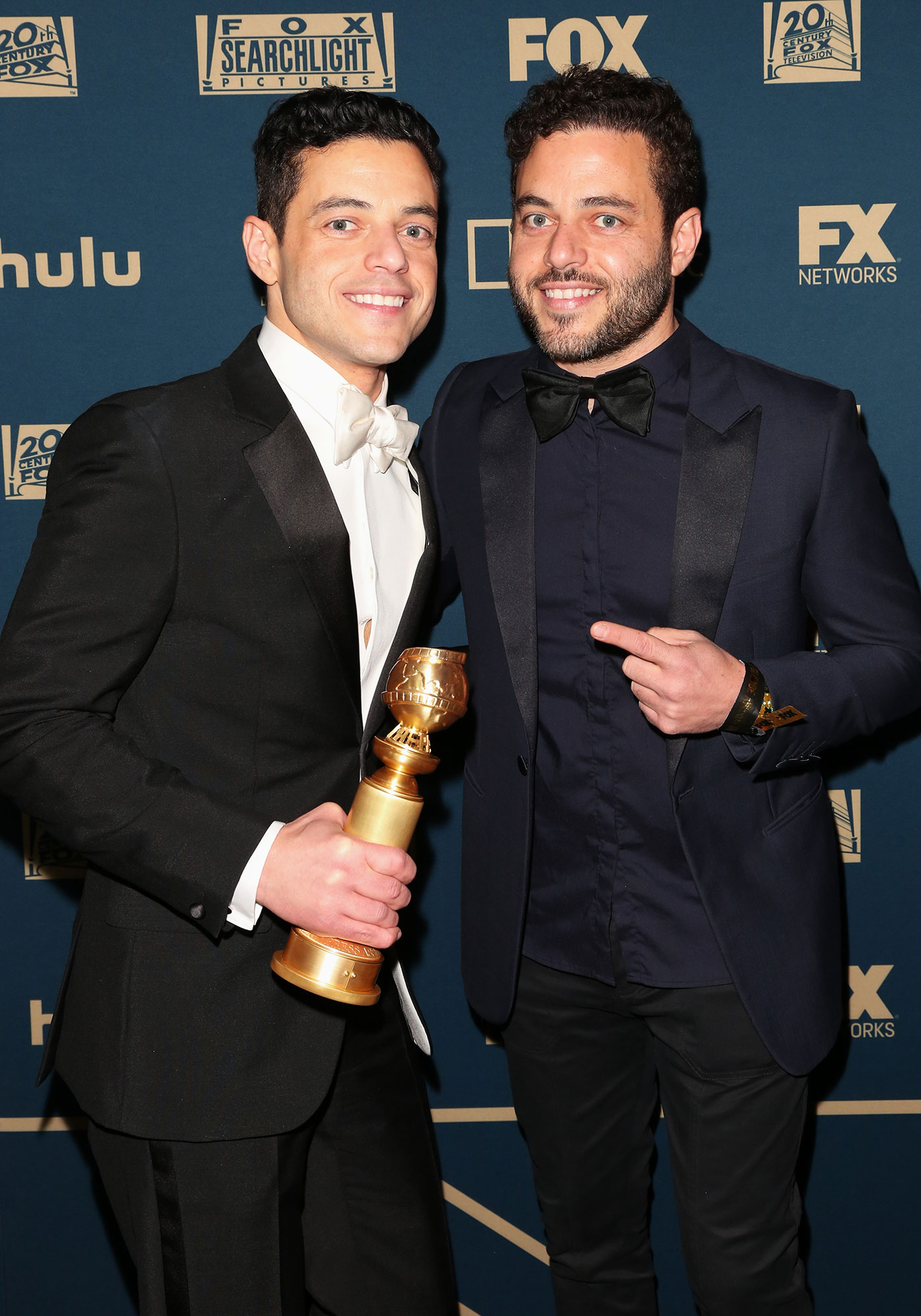 Actor Rami Malek (L) and Sami Malek - Actor Rami Malek (L) and Sami Malek (R) attend the FOX, FX and Hulu 2019 Golden Globe Awards after party at The Beverly Hilton Hotel on January 06, 2019 in Beverly Hills, California.