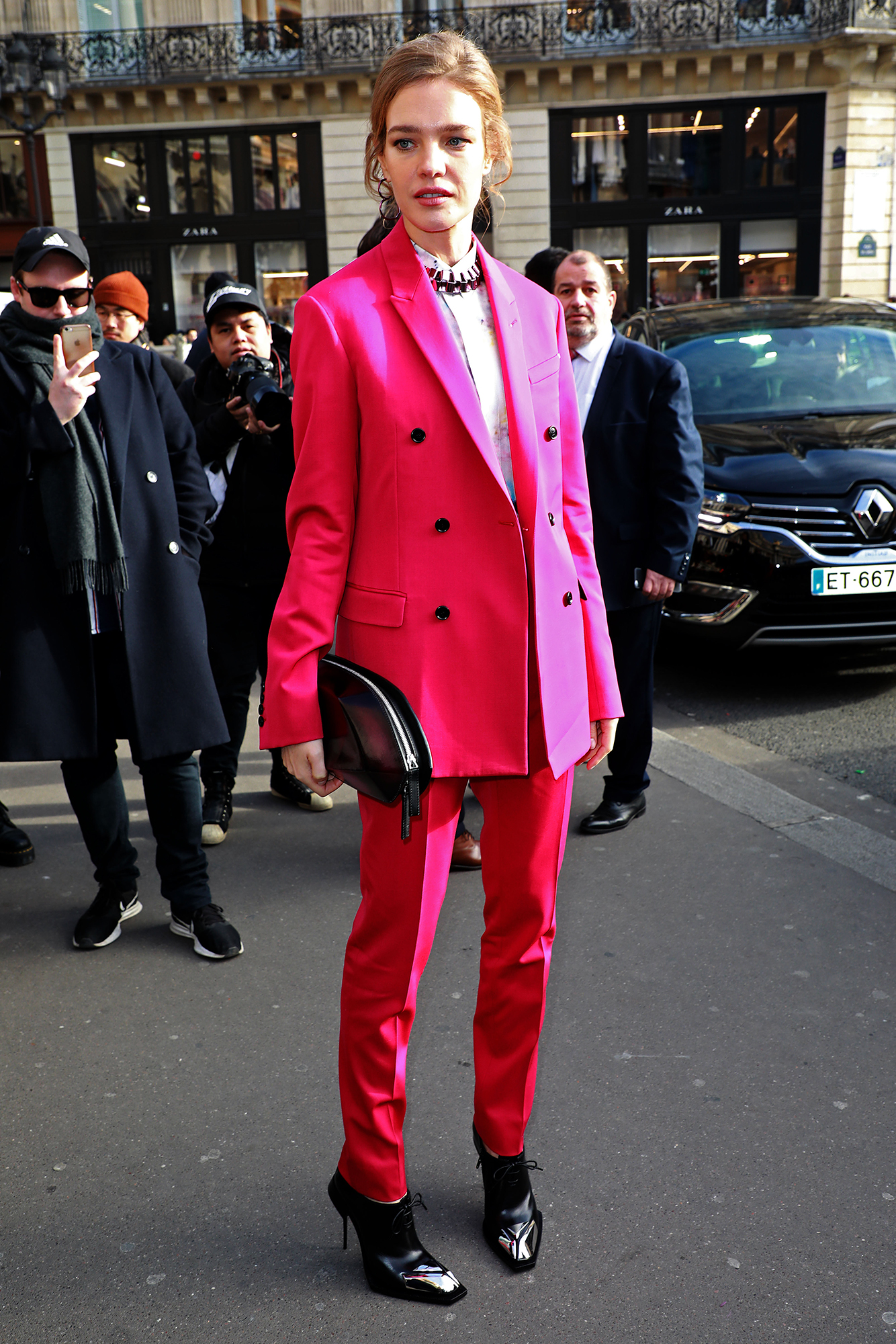 See the Best Celebrity Street Style From Paris Menswear Fall-Winter 2019 Fashion Week - The Russian model brightened things up in a double-breasted hot pink suit at the Berluti show on Friday, January 18.