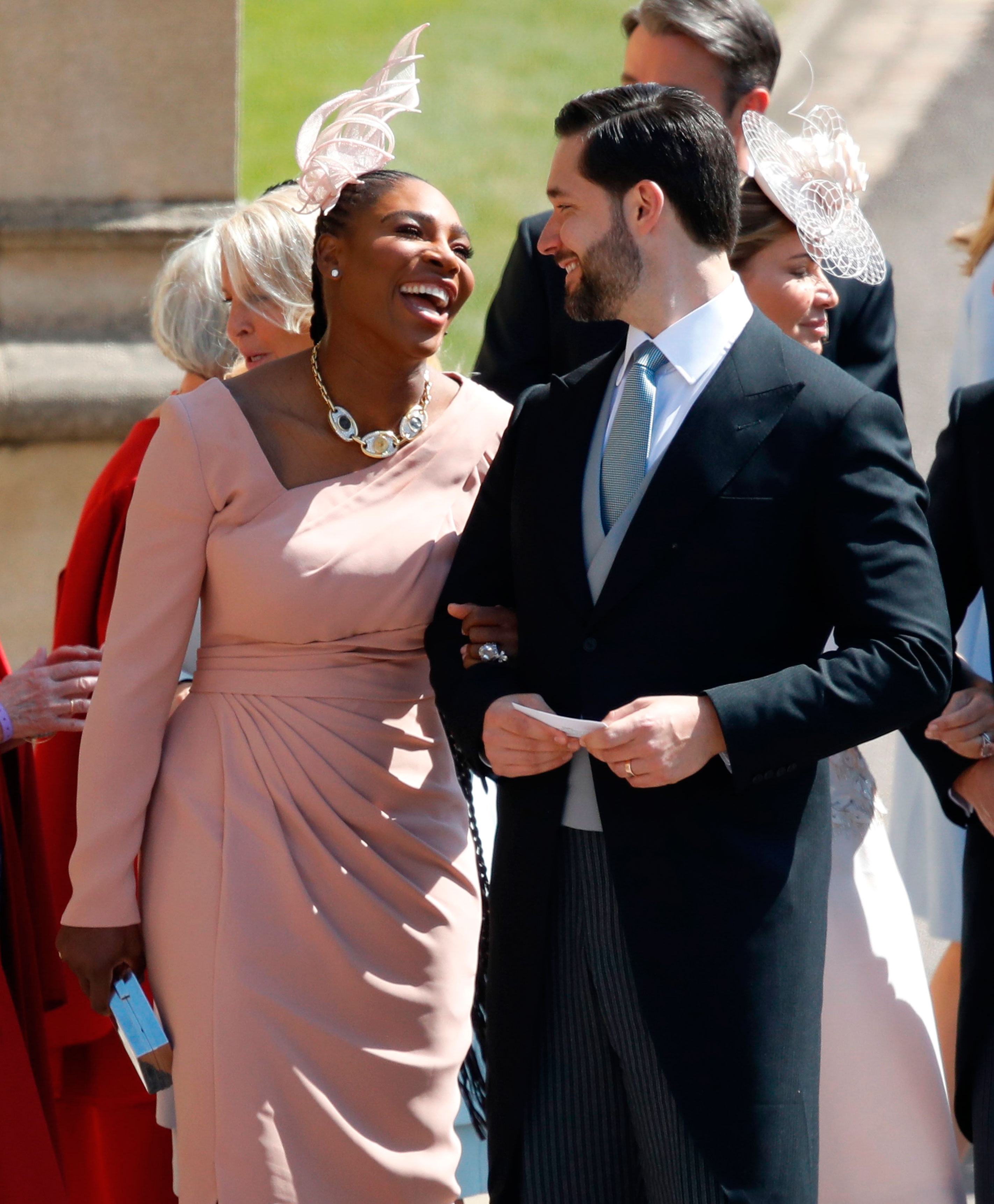 Serena Williams on How Alexis Ohanian Captured Her Heart: 'He Doesn't Try to Dim My Light' - Serena Williams smiling at her husband Alexis Ohanian as they arrive for the wedding ceremony of Prince Harry and Meghan Markle at St George's Chapel, in Windsor, England on May 19, 2018.