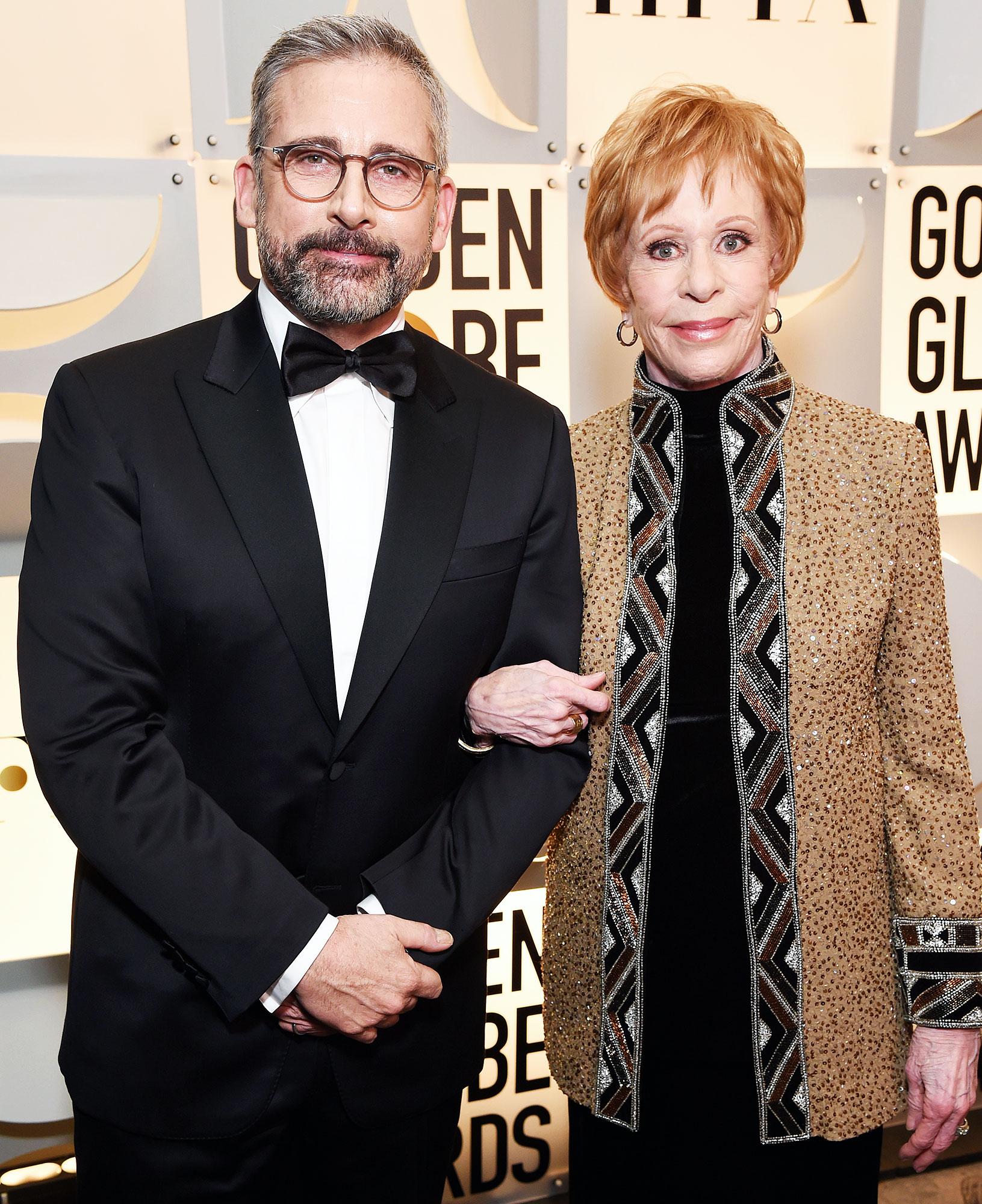 Inside Golden Globes 2019 Steve Carell Carol Burnett - Steve Carell linked arms with Carol Burnett backstage after presenting her with the inaugural Carol Burnett Award for lifetime achievement.