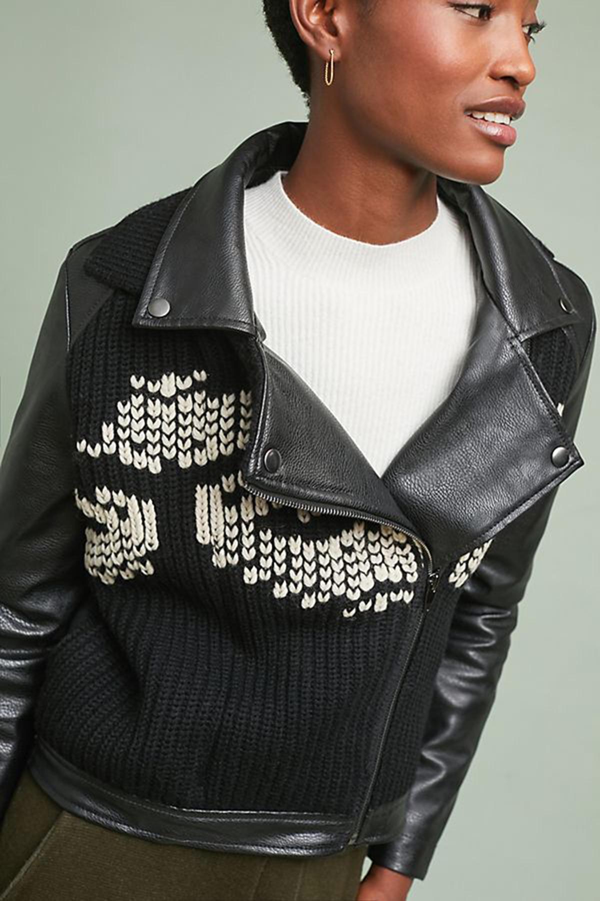 Sweater Moto Jacket Closeup