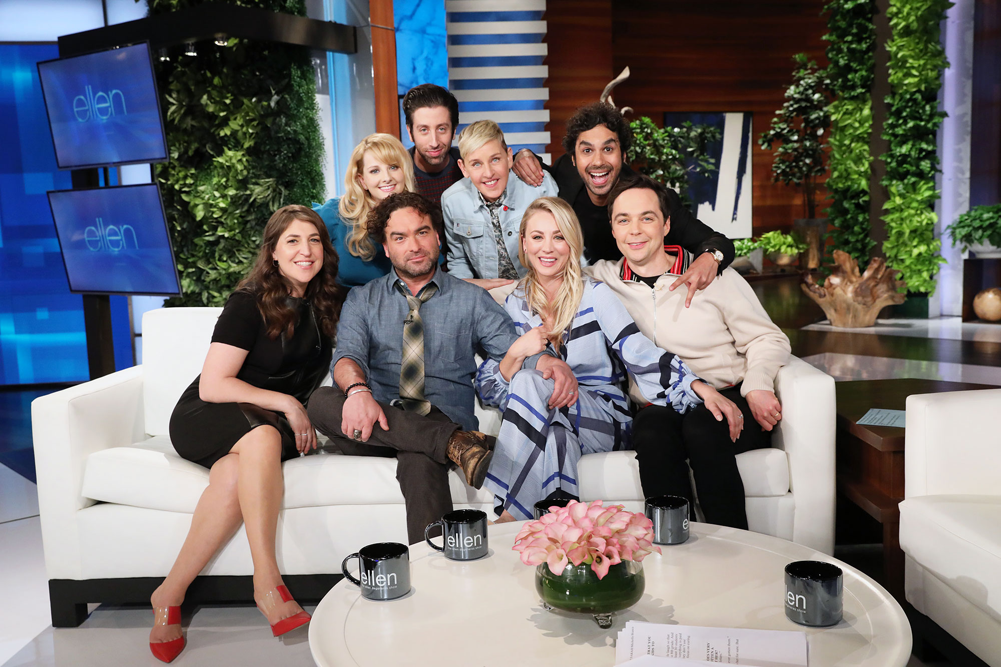 The Big Bang Theory Spinoff Cast The Ellen DeGeneres Show - Mayim Bialik, Melissa Rauch, Simon Helberg, Ellen DeGeneres, Kunal Nayyar, Jim Parsons, Kaley Cuoco and Johnny Galecki on 'The Ellen DeGeneres show.