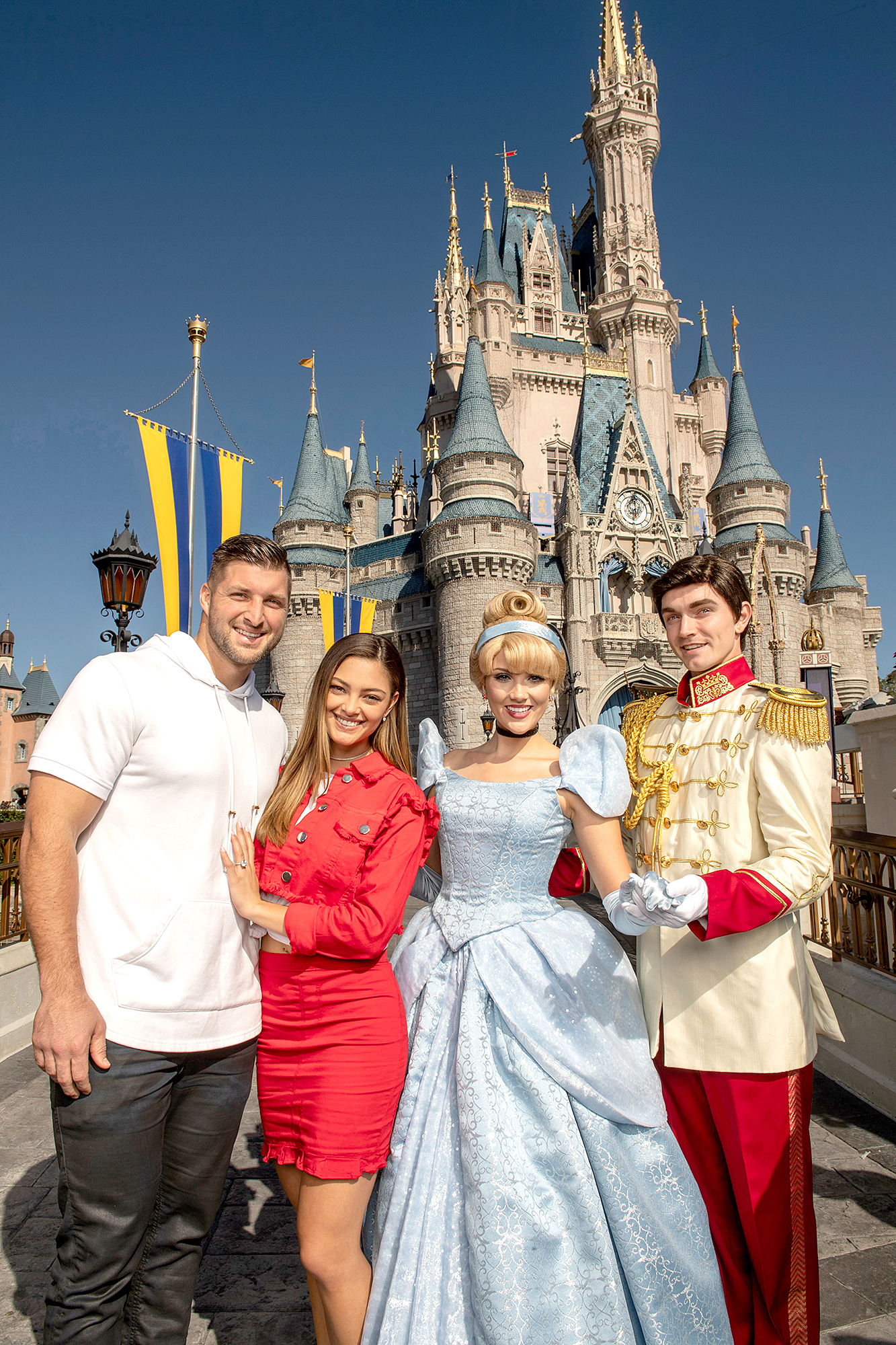 Tim-Tebow-and-Demi-Leigh-Nel-Peters-engaged-disney - Tebow and Nel-Peters celebrated their engagement with a group of family members and friends.