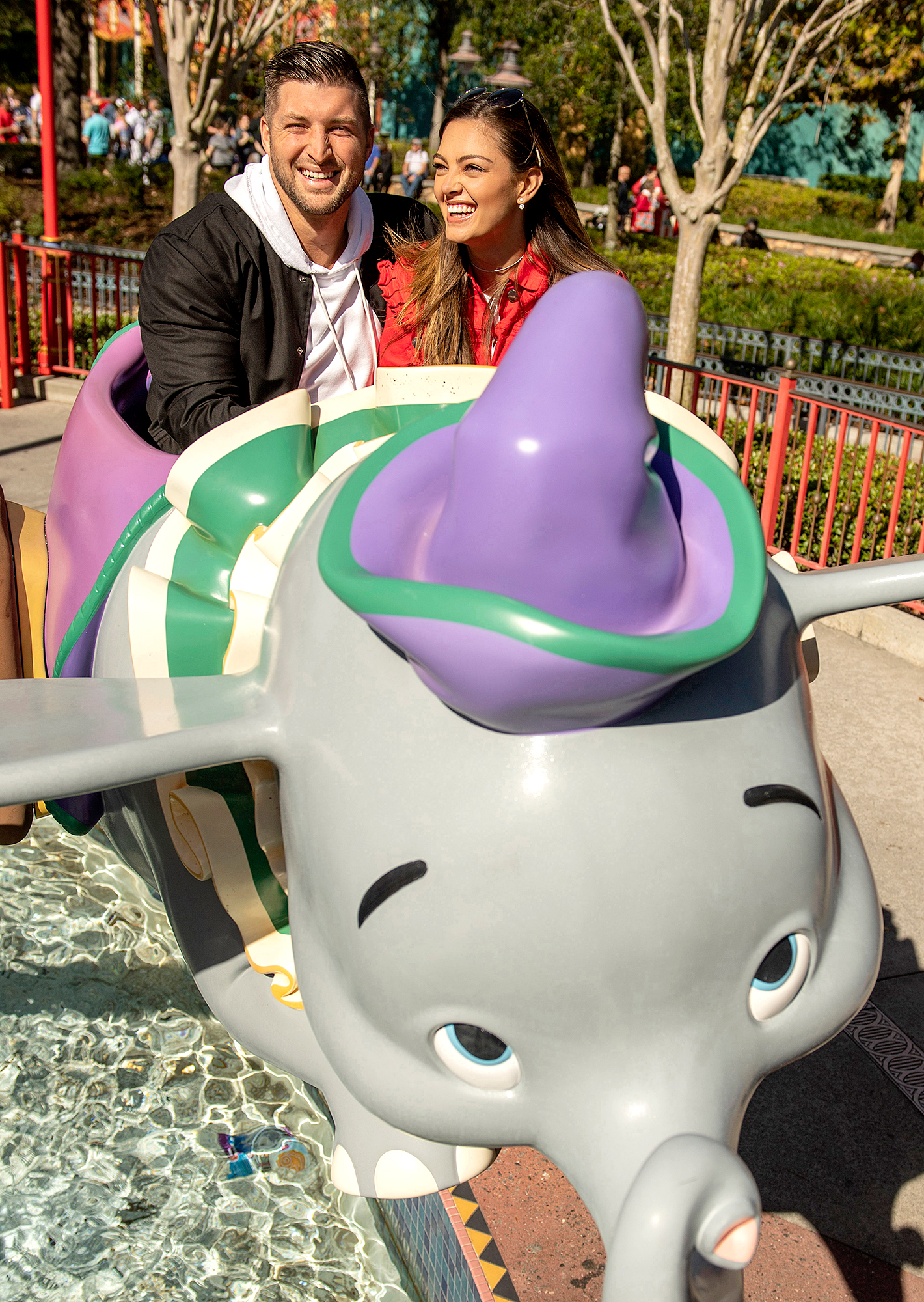 Tim-Tebow-and-Demi-Leigh-Nel-Peters-engaged-disney - Tebow and Nel-Peters took flight on the Dumbo ride at Magic Kingdom Park.