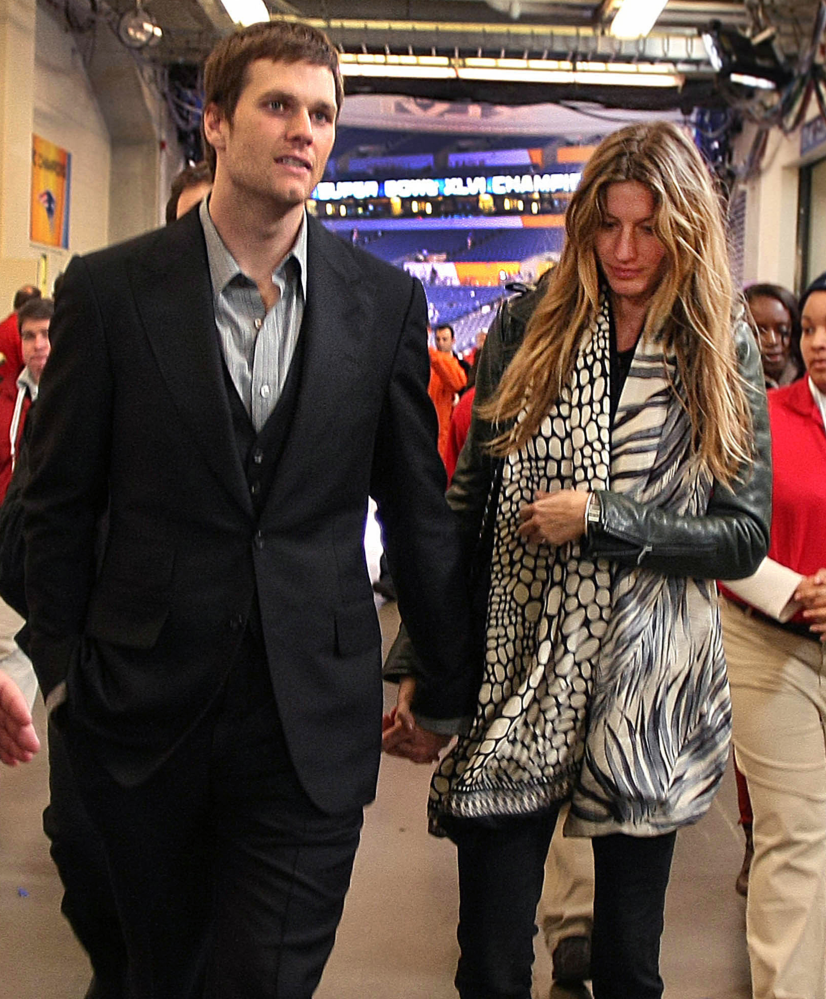 """Tom Brady and Gisele Bundchen: A Timeline of Their Relationship - Bündchen made headlines in February 2012 after she defended Brady following the Patriots loss to the New York Giants during Super Bowl XLVI. """"My husband cannot f—king throw the ball and catch the ball at the same time. I can't believe they dropped the ball so many times,"""" she yelled at the time."""