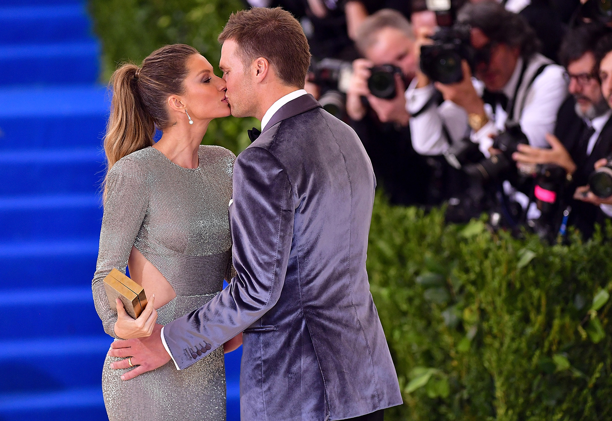 """Tom Brady and Gisele Bundchen: A Timeline of Their Relationship - Bündchen jumped for joy in January 2019 after the Patriots defeated the Kansas City Chiefs in the AFC Championship game and earned Brady's ninth trip to the Super Bowl. """"I first want to say hi to my wife, I love you so much,"""" Brady said during his post-game interview."""