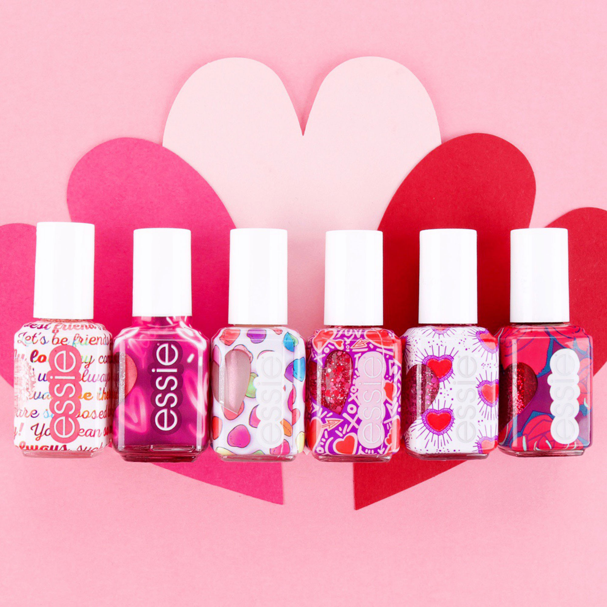 Valentine's Day Gift Guide 2019: Beauty and Fashion Ideas for the Lady in Your Life - Give her the gift of a super festive mani with this adorably packaged selection of shimmering pink and red shades. $9 each, essie.com