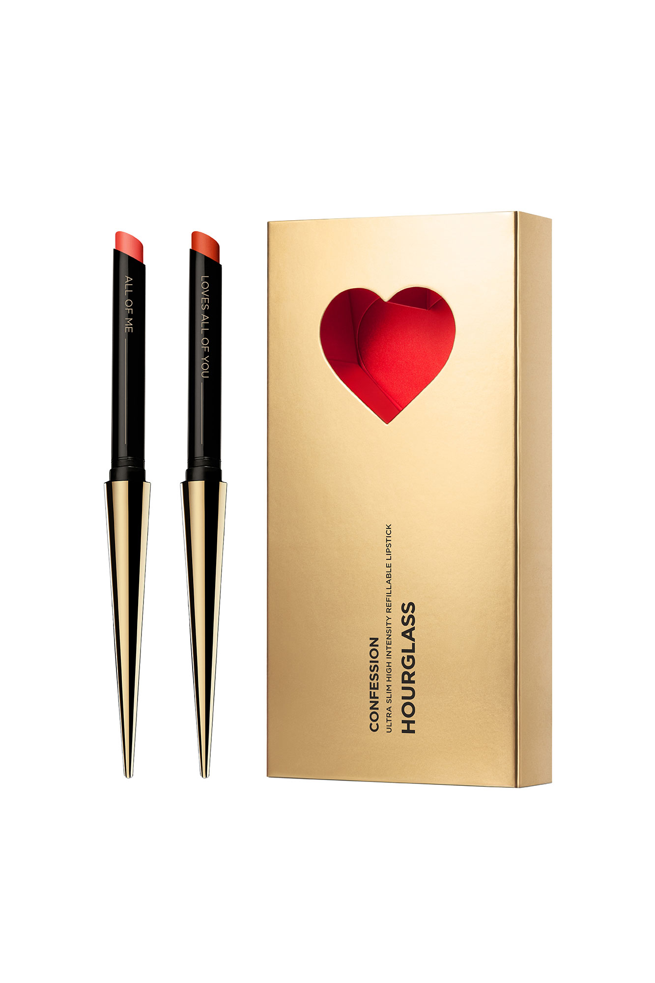 Valentine's Day Gift Guide 2019: Beauty and Fashion Ideas for the Lady in Your Life - A lipstick for any mood, this long-wearing duo contains one pink and one red shade in the sleekest heart-adorned (refillable!) gold applicators. $72, hourglasscosmetics.com beginning January 25