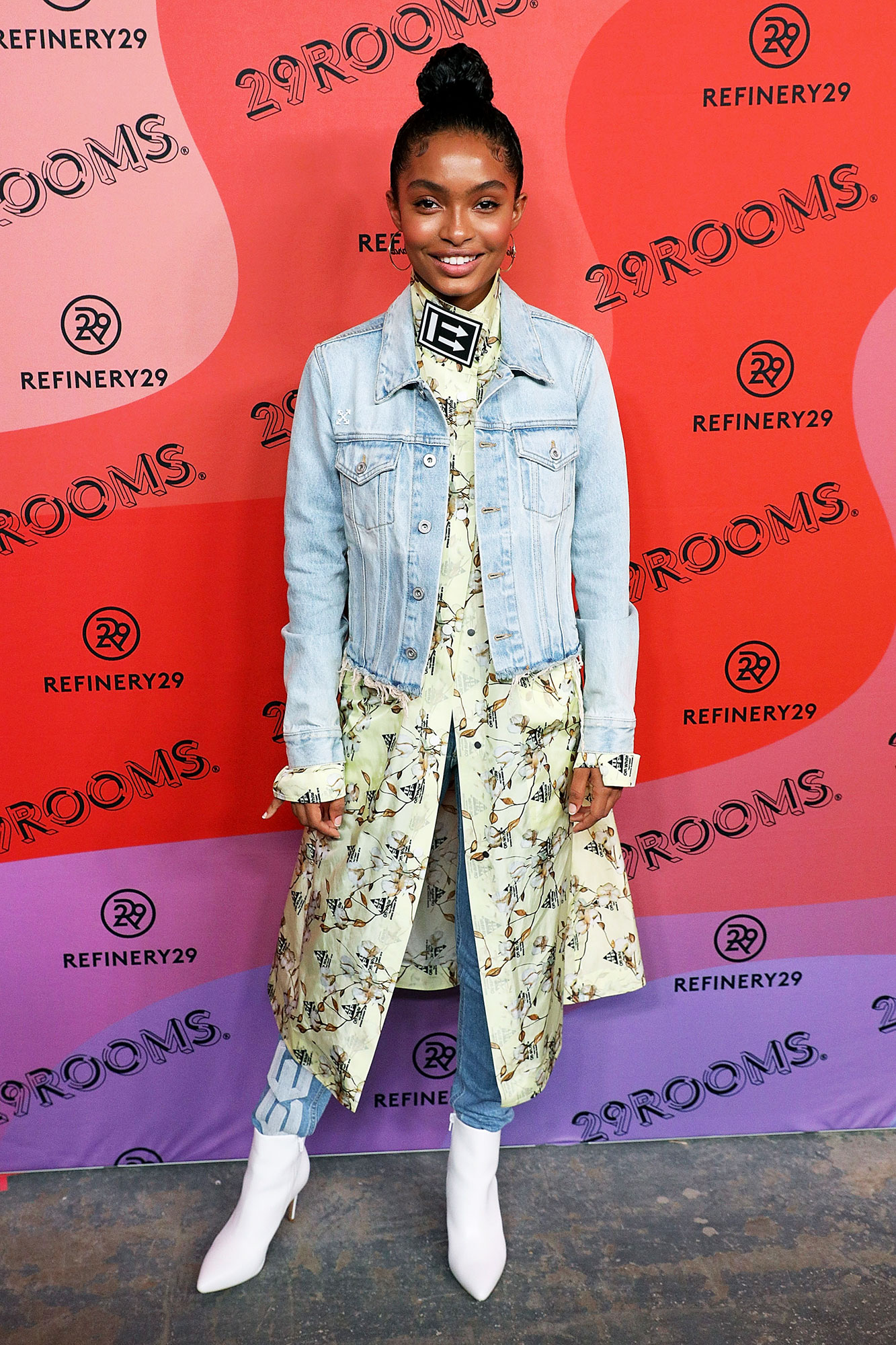 Yara Shahidi red carpet - In $130 Aldo boots and a tunic, jacket and jeans from Off-White c/o Virgil Abloh.