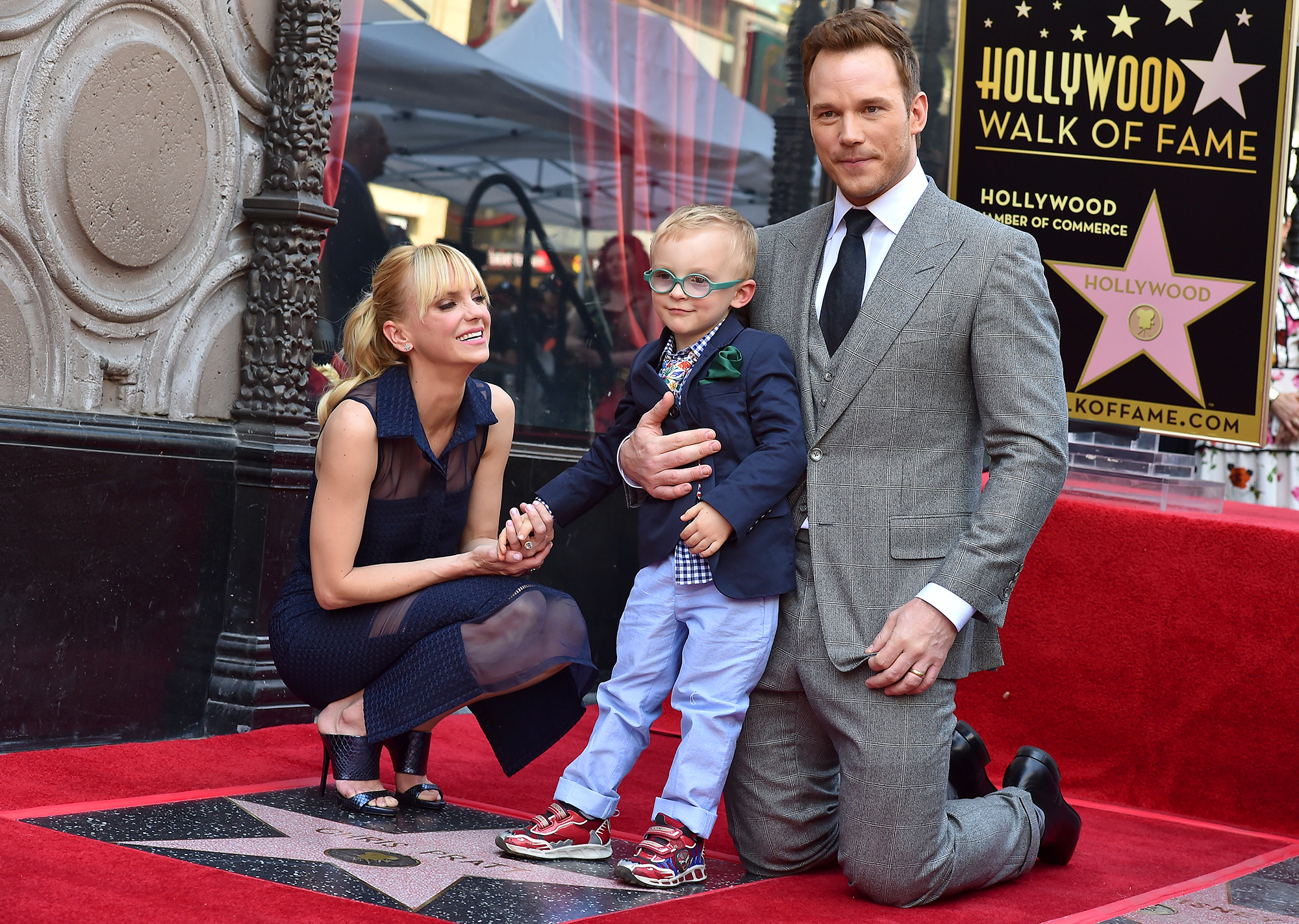 Everything Chris Pratt and Anna Faris Have Said About Coparenting Their Son Jack - HOLLYWOOD, CA – APRIL 21: Actor Chris Pratt, wife Anna Faris and son Jack Pratt attend the ceremony honoring Chris Pratt with a star on the Hollywood Walk of Fame on April 21, 2017 in Hollywood, California. (Photo by Axelle/Bauer-Griffin/FilmMagic)