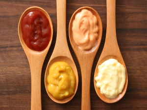 Spoons with various condiments