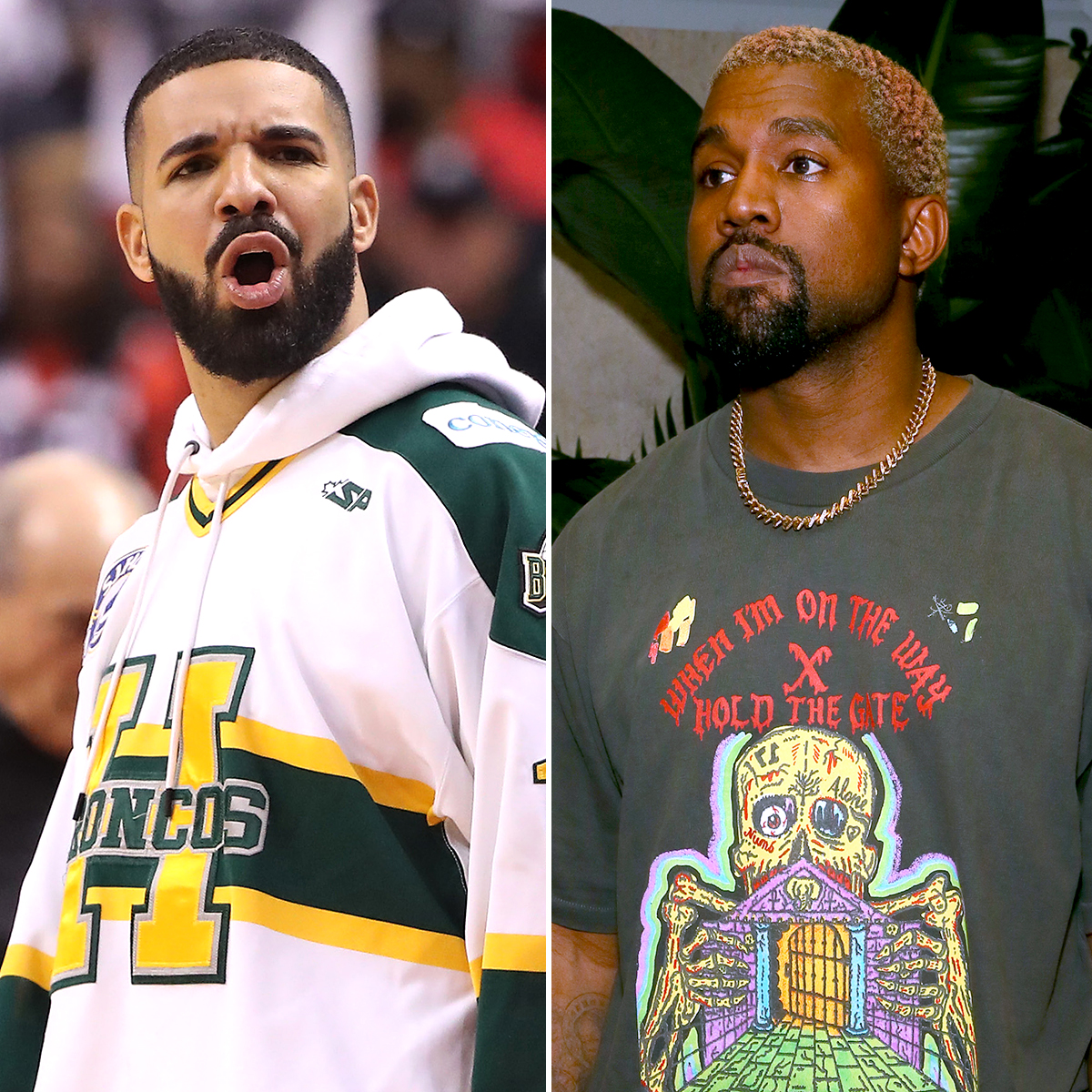 """drake-kanye-west-feud-2 - Drake wasn't going to take Pusha T and West's shady snub lying down, however. He later responded with """"Duppy Freestyle,"""" where he discussed assisting the """"Jesus Walks"""" rapper on """"Father Stretch My Hands"""" and """"30 Hours"""" from 2016's The Life of Pablo ."""