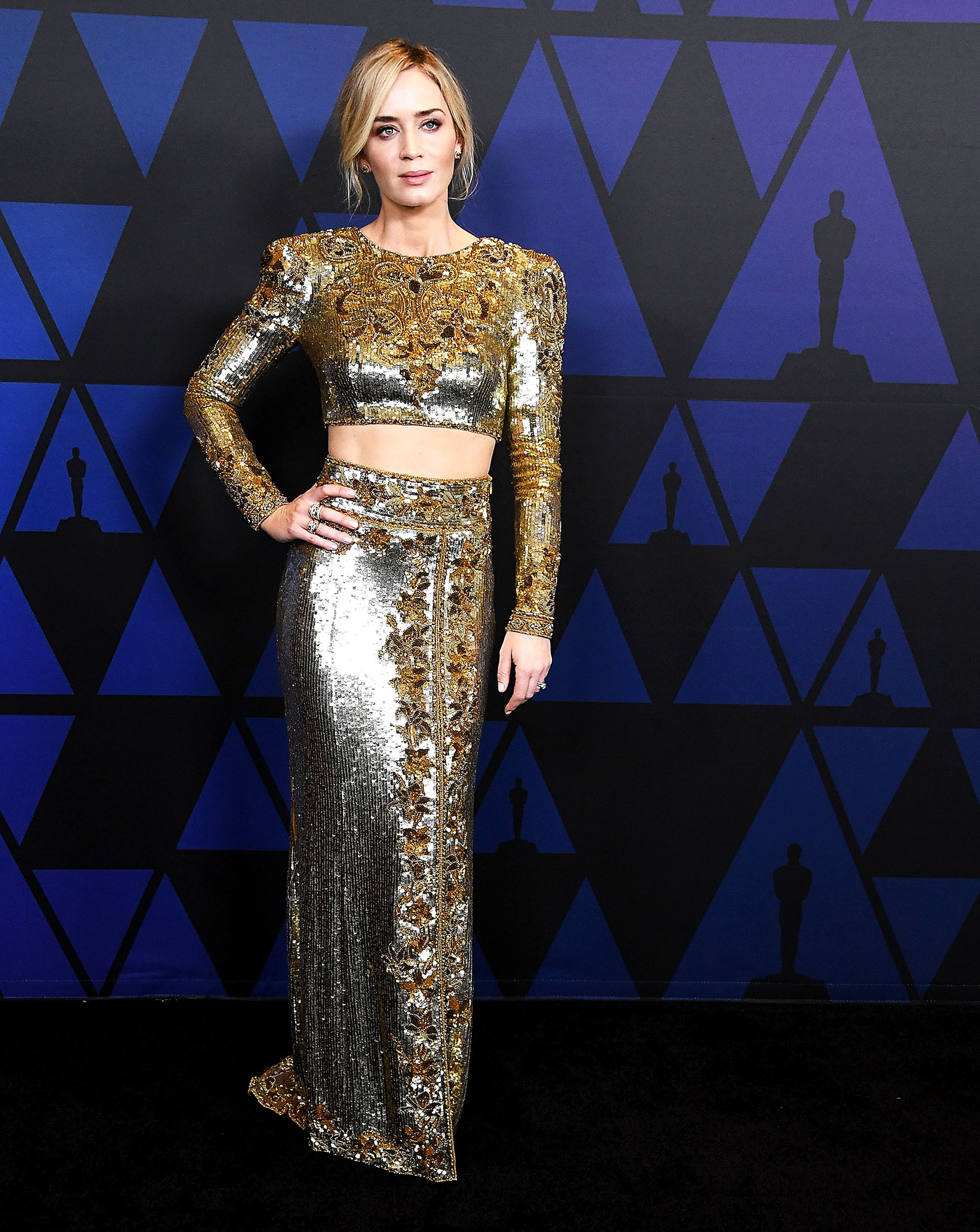 Emily Blunt arrives at the Academy Of Motion Picture Arts And Sciences' 10th Annual Governors Awards - In an embroidered Dundas top and skirt with David Yurman studs and rings.