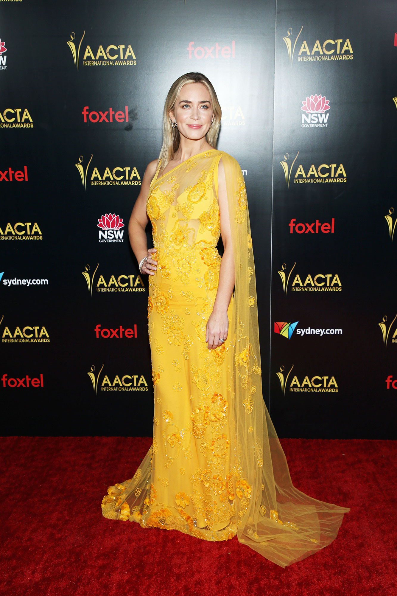 Emily Blunt attends the 8th AACTA International Awards - In a crepe-lined, draped silk tulle asymmetrical Elie Saab with Graziela gems.