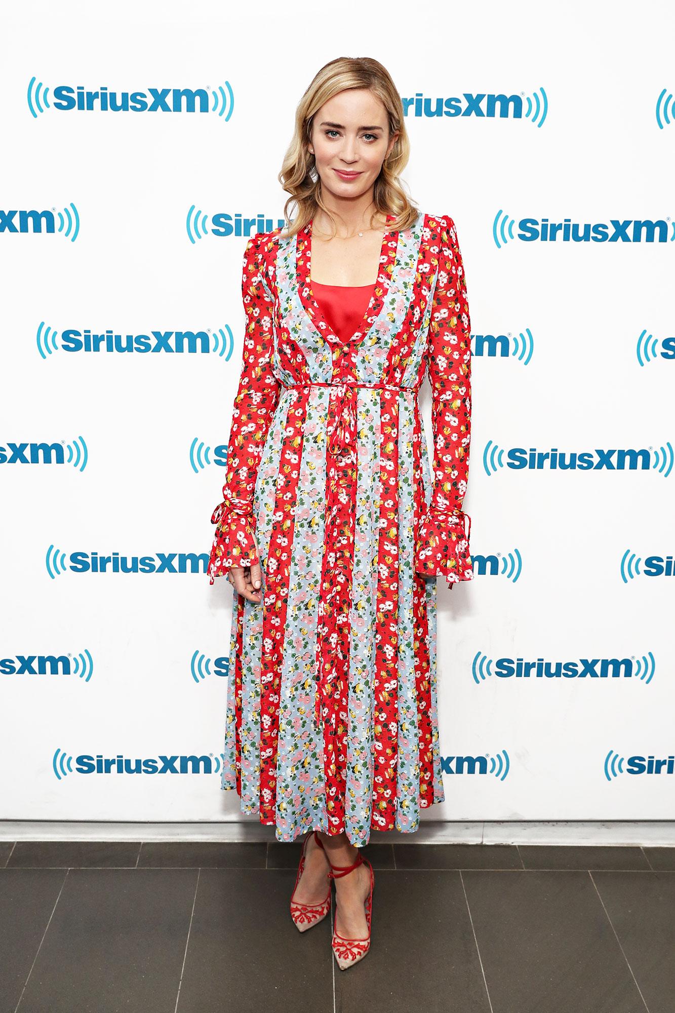 Emily Blunt visits the SiriusXM Studio - In a $160 Josie Natori tank under a floral-print $2,490 Carolina Herrera.