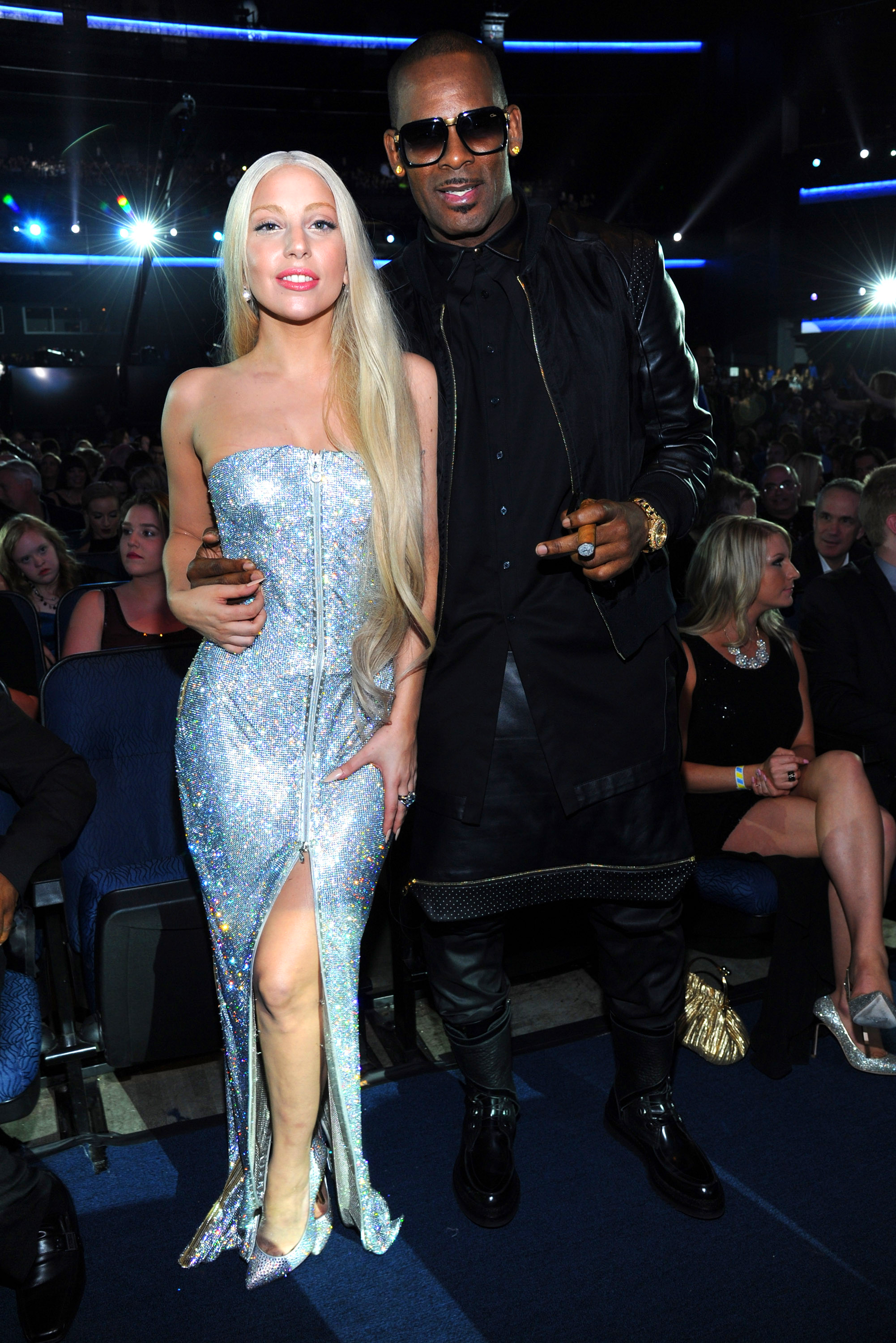 ady Gaga, Christina Aguilera, John Legend and More Stars Who Have Spoken Out Against R. Kelly - LOS ANGELES, CA – NOVEMBER 24: Lady Gaga and R Kelly attend 2013 American Music Awards at Nokia Theatre L.A. Live on November 24, 2013 in Los Angeles, California. (Photo by Kevin Mazur/AMA2013/WireImage)