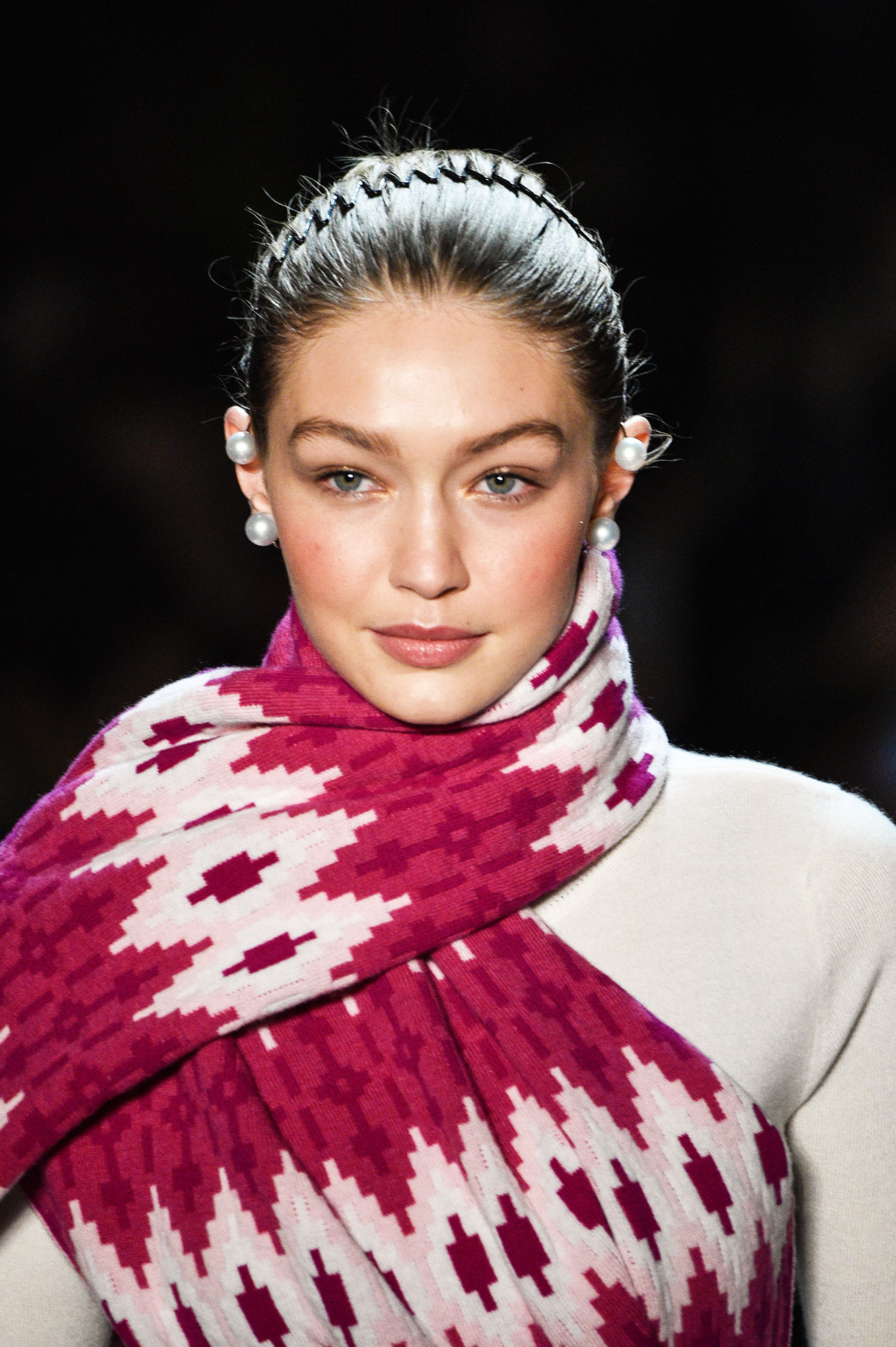 gigi hadid Chrissy Teigen Hilariously Rocks the '90s Accordion Headband - Gigi Hadid walks the runway during the Prabal Gurung fashion show during New York Fashion Week at Gallery I at Spring Studios on February 11, 2018 in New York City.