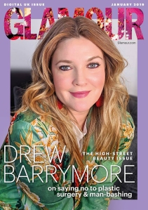 Drew Barrymore on the digital cover of Glamour UK