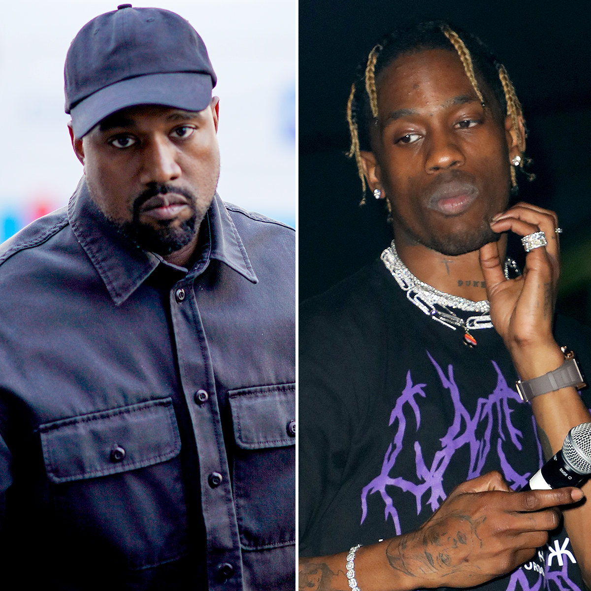 """kanye-west-travis-scott - The """"Gold Digger"""" rapper also felt slighted by Scott — who shares daughter Stormi Webster with West's sister-in-law Kylie Jenner — for allowing Drake to sneak-diss West on """"Sicko Mode."""" He took issue with Drake's line that contained the phrase, """"Checks over stripes,"""" as he has a sneaker line through Adidas — which bears three stripes in its logo — while Drake is associated with Nike, which bears a checkmark."""