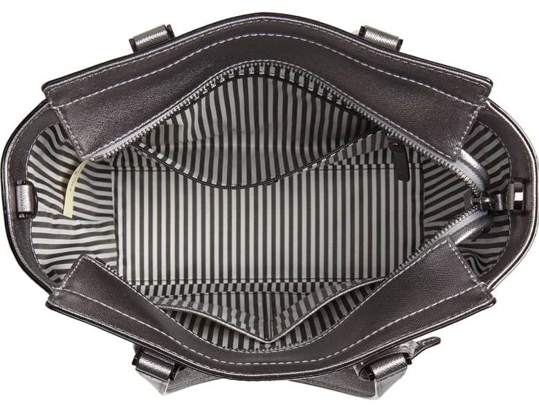 kate spade metallic leather satchel inside
