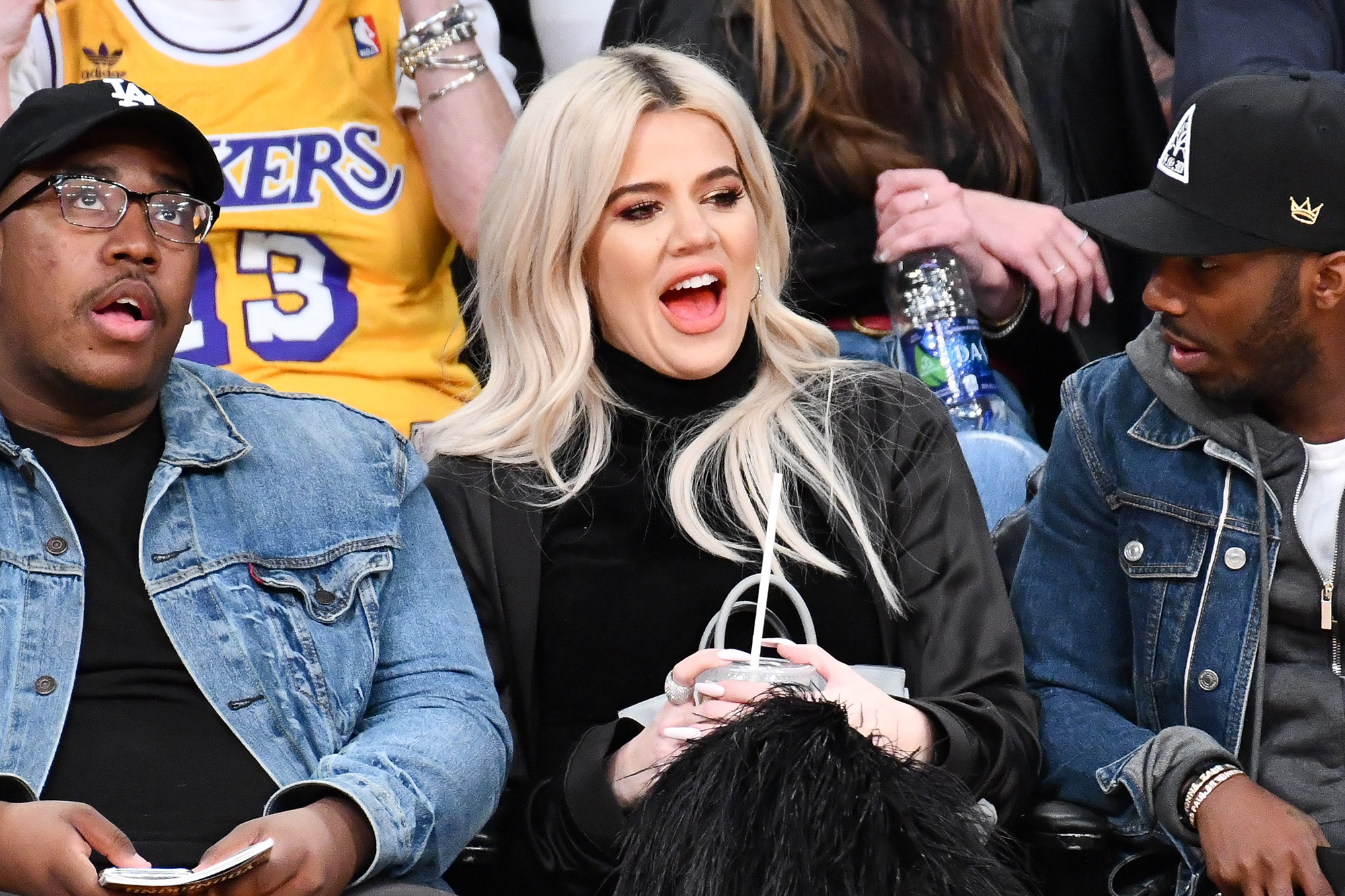 Khloe Kardashian Supports Beau Tristan Thompson Courtside at Cleveland Cavaliers Game - Kardashian looked surprised as she watched the action on the court. Paul, meanwhile, gazed at her reaction.