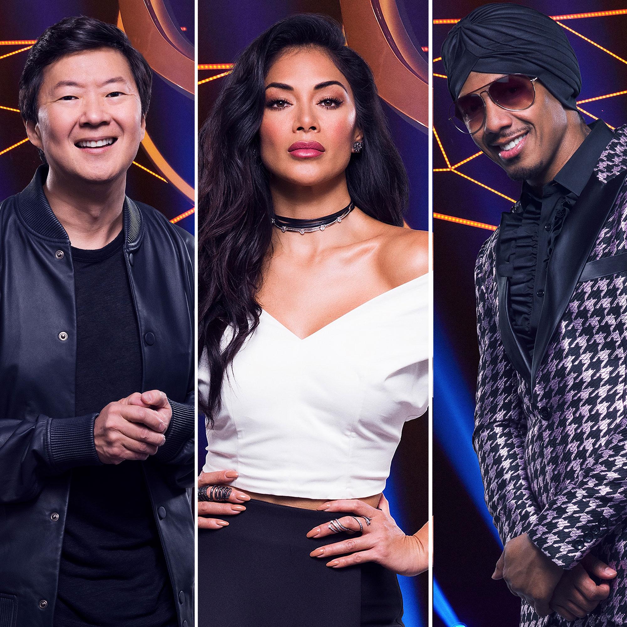 masked singer judges split - Panelists Ken Jeong, Nicole Scherzinger and host Nick Cannon in 'The Masked Singer.