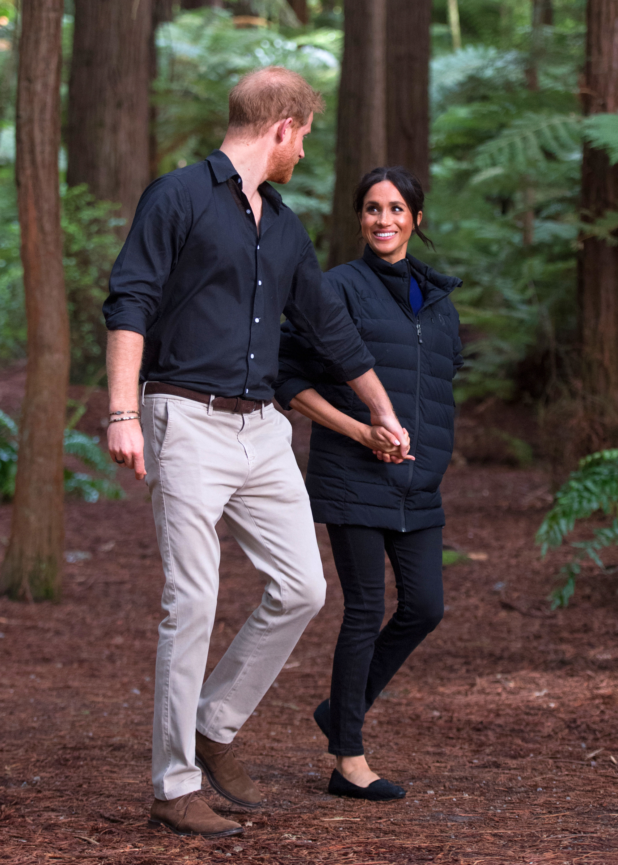 Meghan Markle¹s $120 Birdies Starling Slippers Are Back in Stock ‹ for Now - ROTORUA, NEW ZEALAND – OCTOBER 31: (UK OUT FOR 28 DAYS) Prince Harry, Duke of Sussex and Meghan, Duchess of Sussex visit Redwoods Tree Walk on October 31, 2018 in Rotorua, New Zealand. The Duke and Duchess of Sussex are on their official 16-day Autumn tour visiting cities in Australia, Fiji, Tonga and New Zealand.
