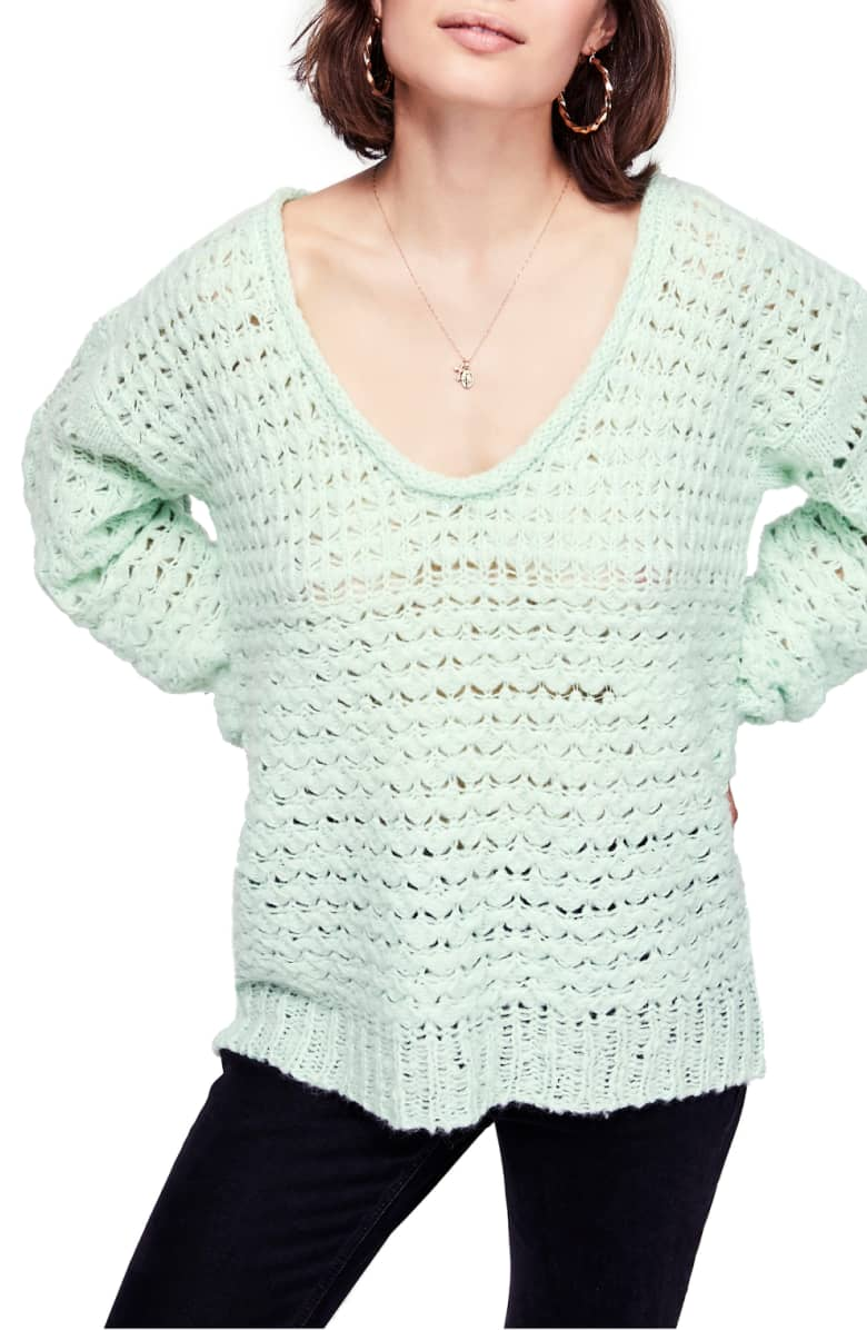mint green free people sweater