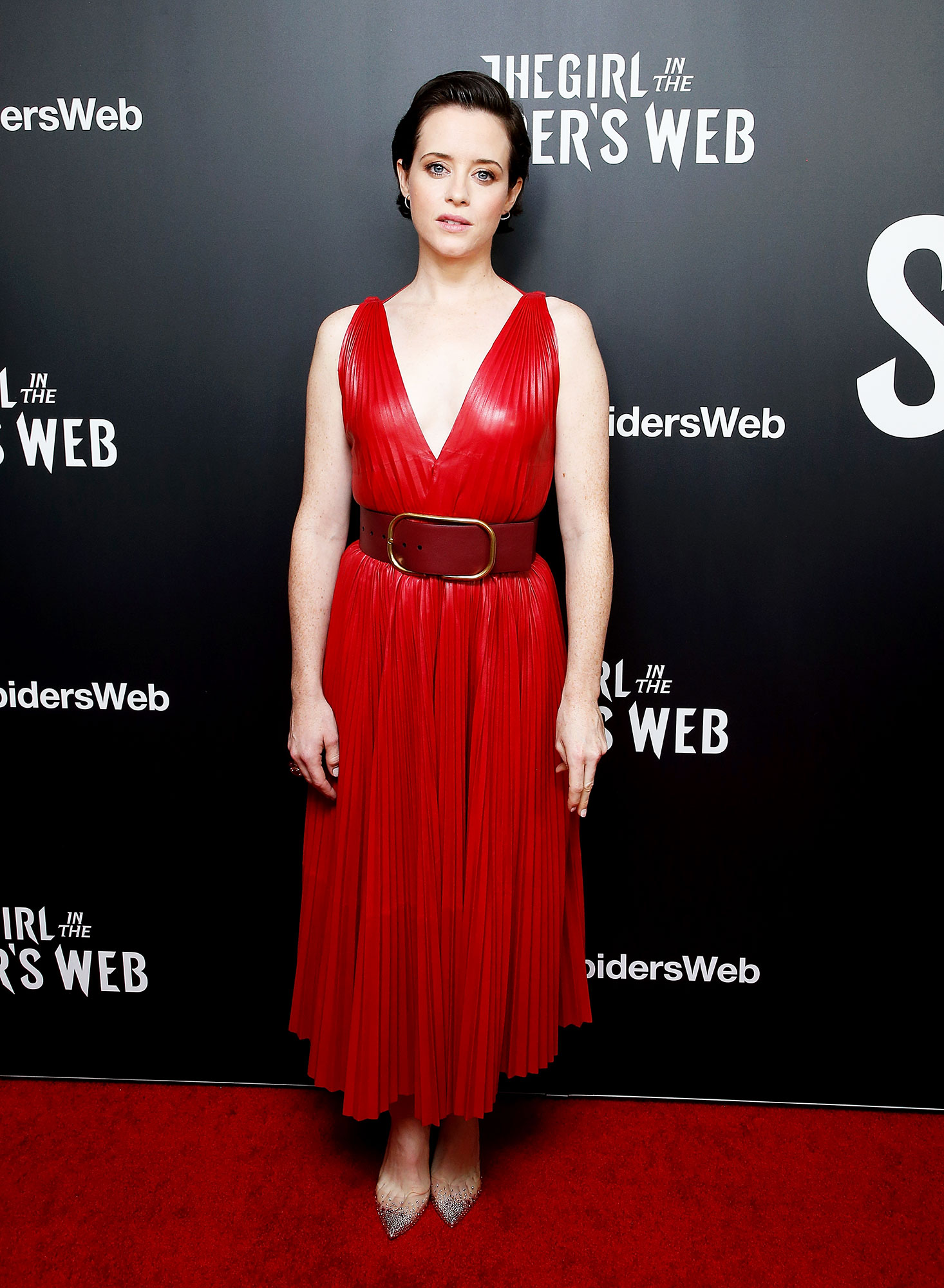 red carpet gallery for Stylish - Red Claire Foy - In a leather Valentino V-neck on Nov. 4.
