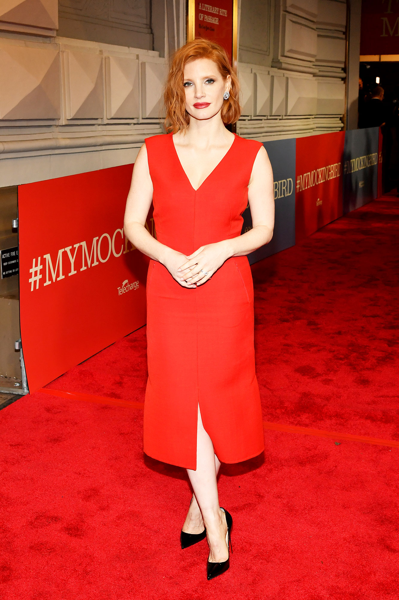 red carpet gallery for Stylish - Red Jessica Chastain - In a double-faced wool Akris on Dec. 13.