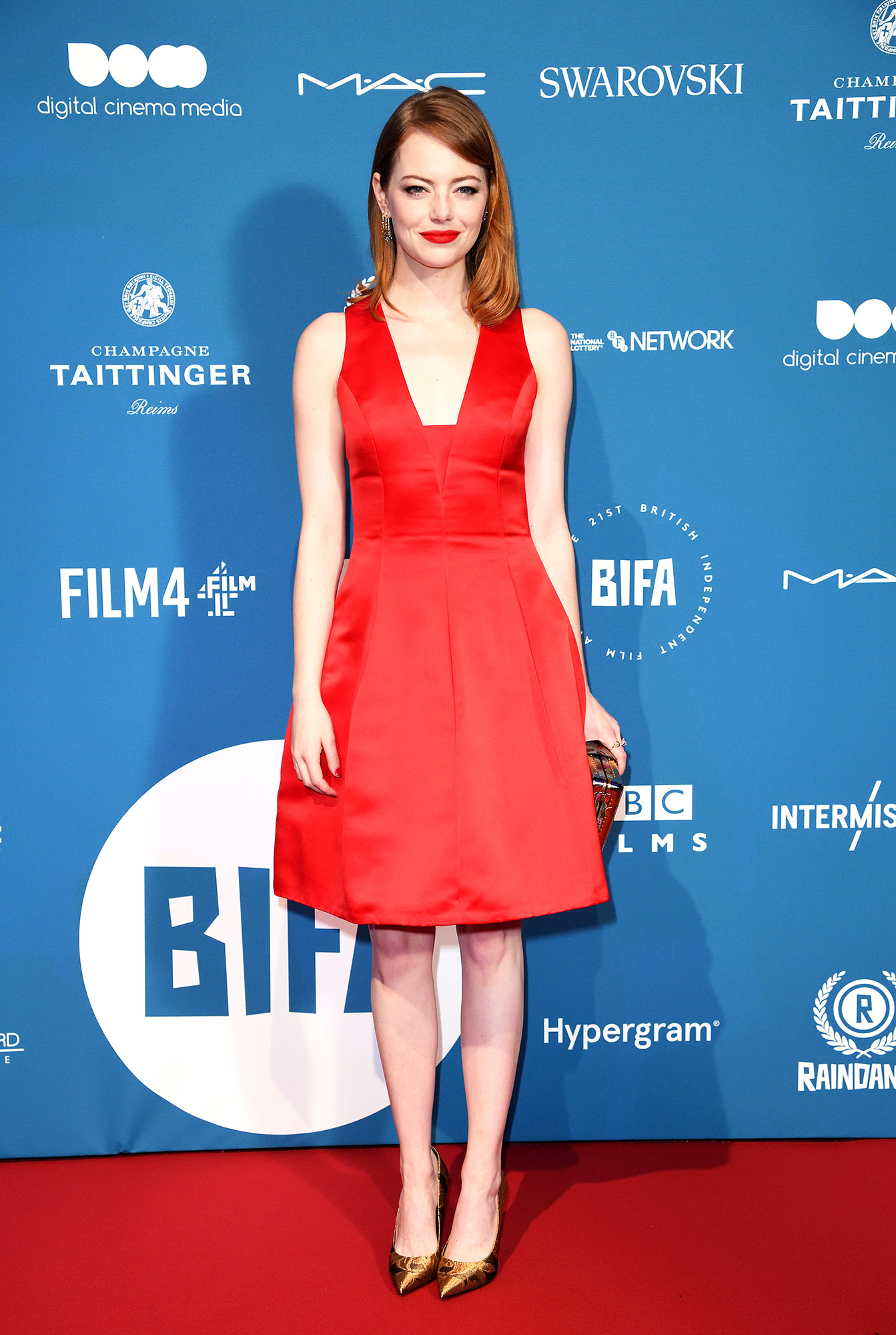 red carpet gallery for Stylish - Red Emma Stone - In a low-cut silk Louis Vuitton on Dec. 2.