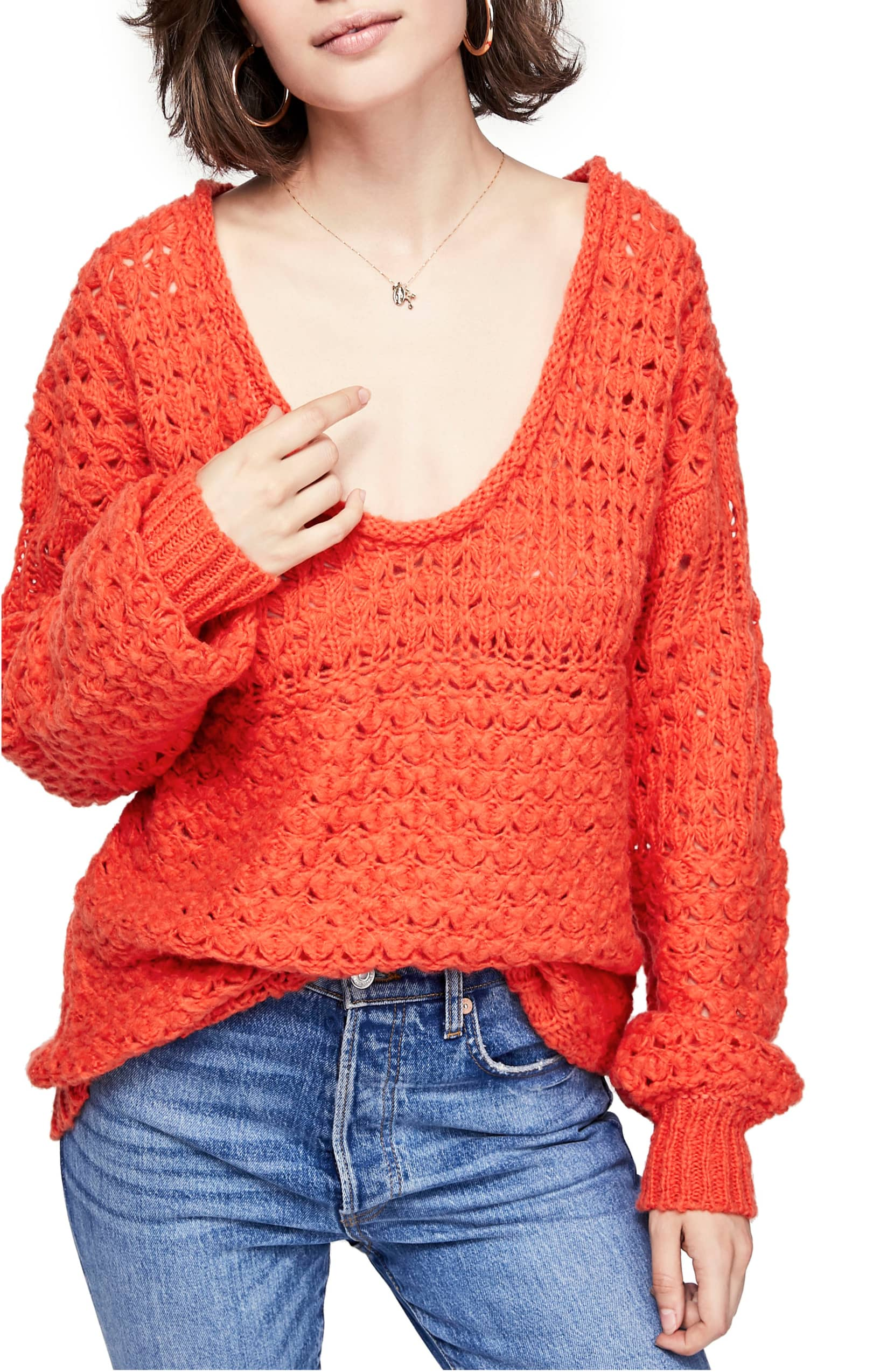 red free people sweater