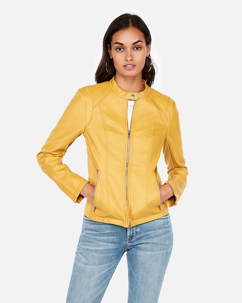 Leather Peplum Jacket Yellow