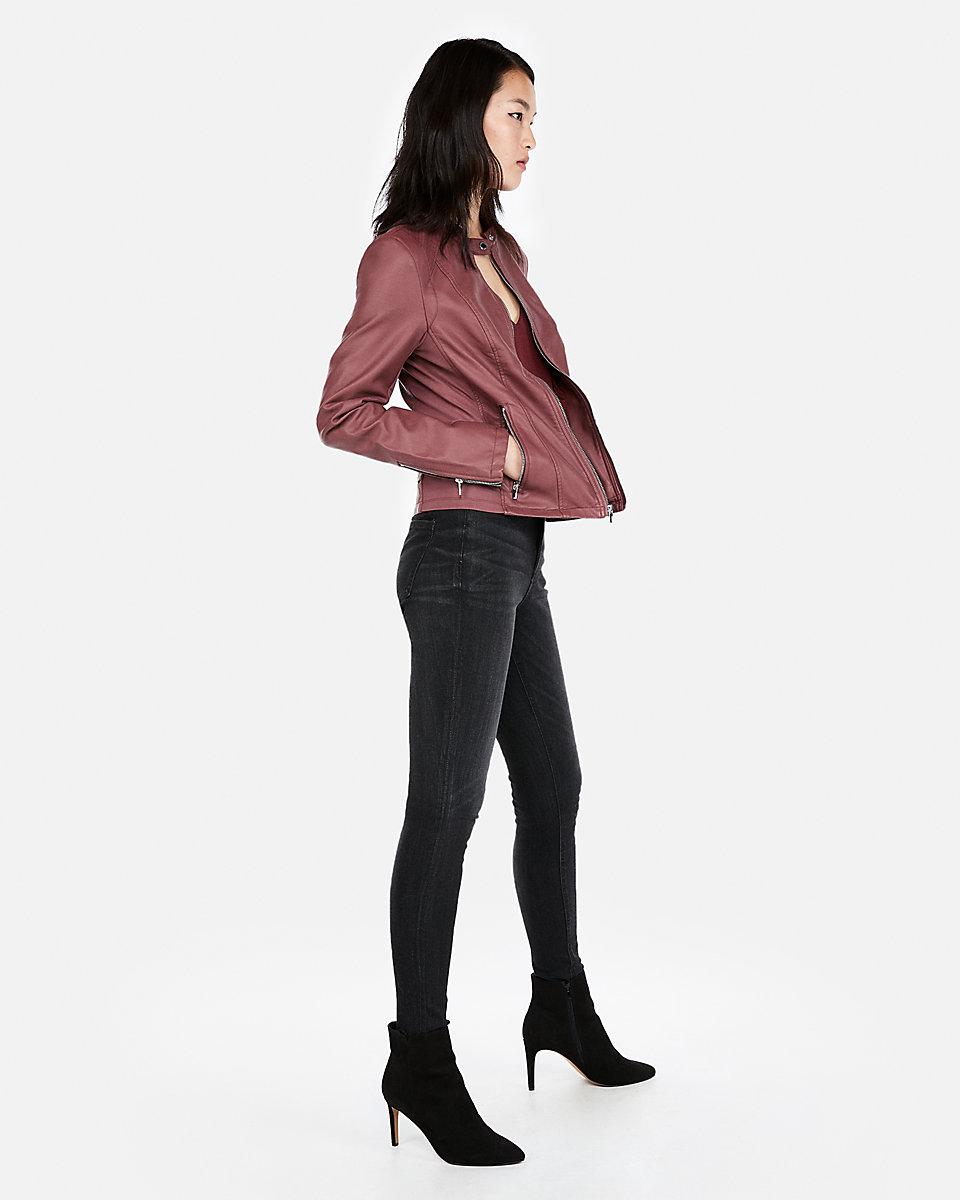 Leather Peplum Jacket Ginger